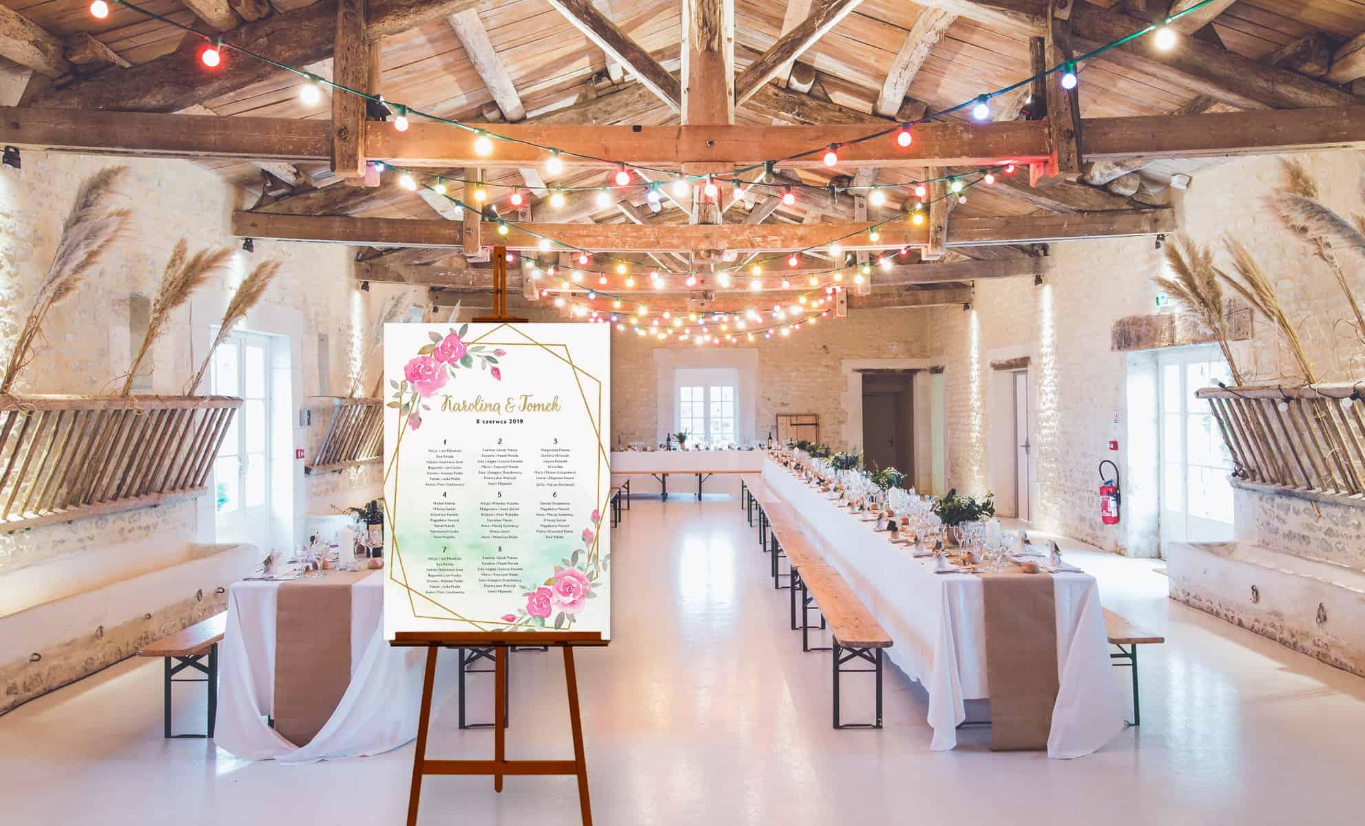 Tablica usadzenia gości przy stołach