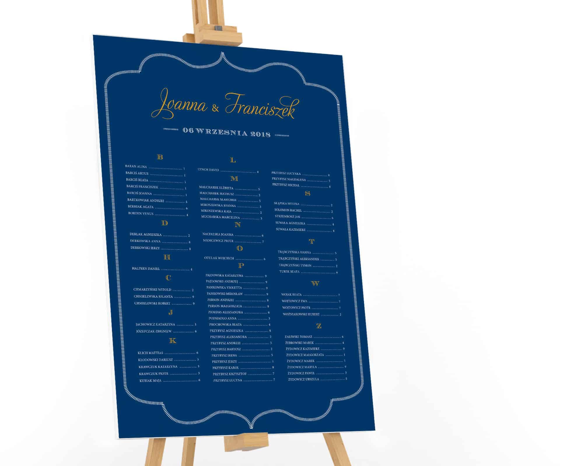 Granatowy plan stołów z układem alfabetycznym gości