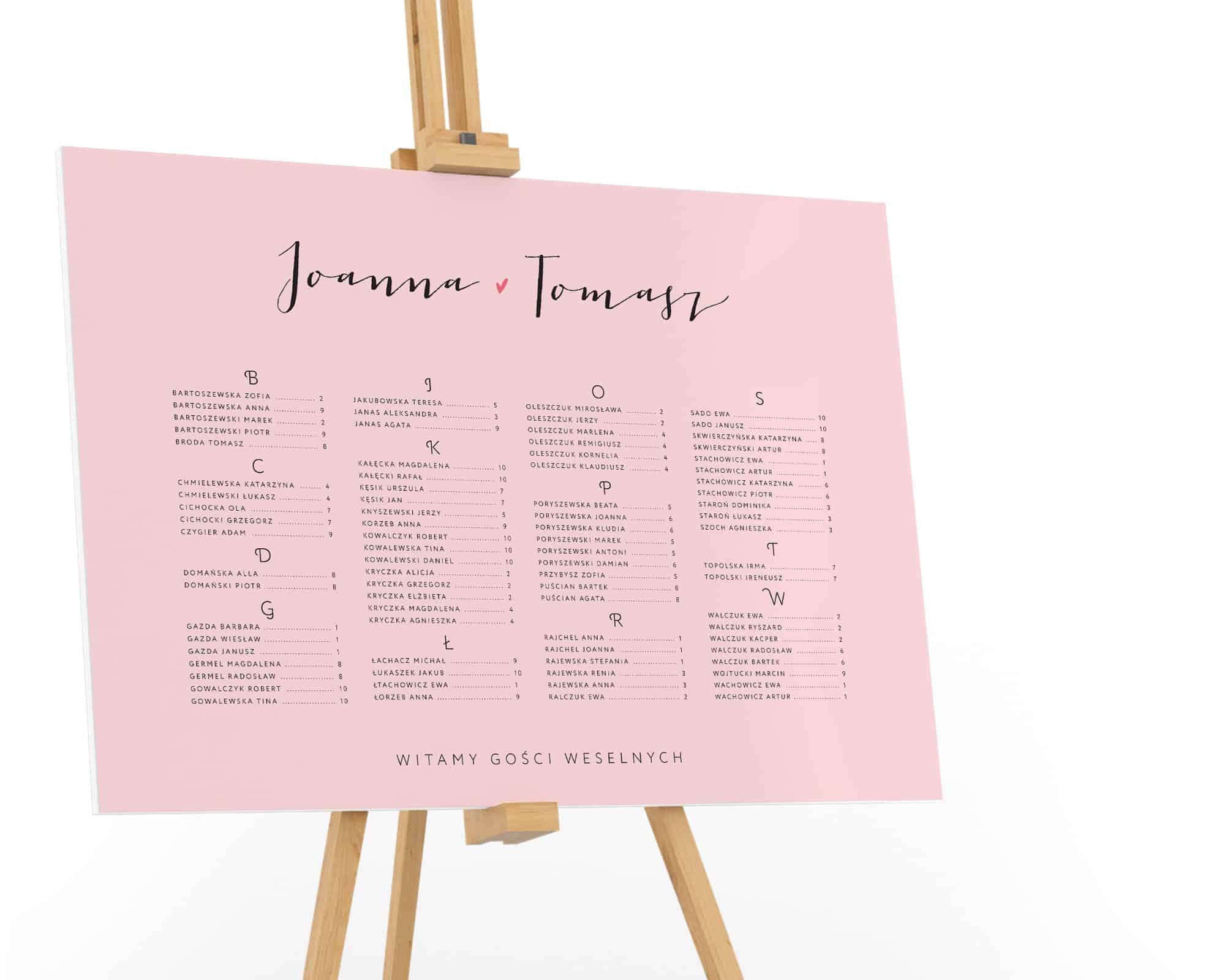 Typograficzny projekt planu stołów z alfabetycznym układem