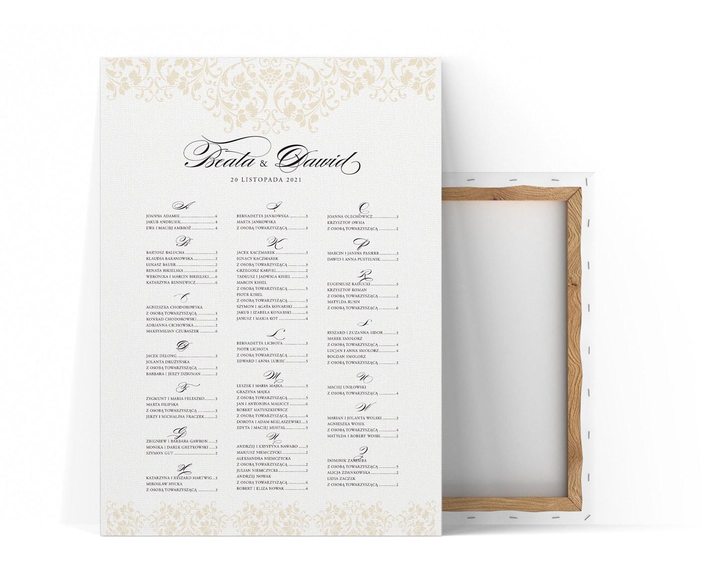 ozdobny plan stołów weselnych z ornamentami ecru