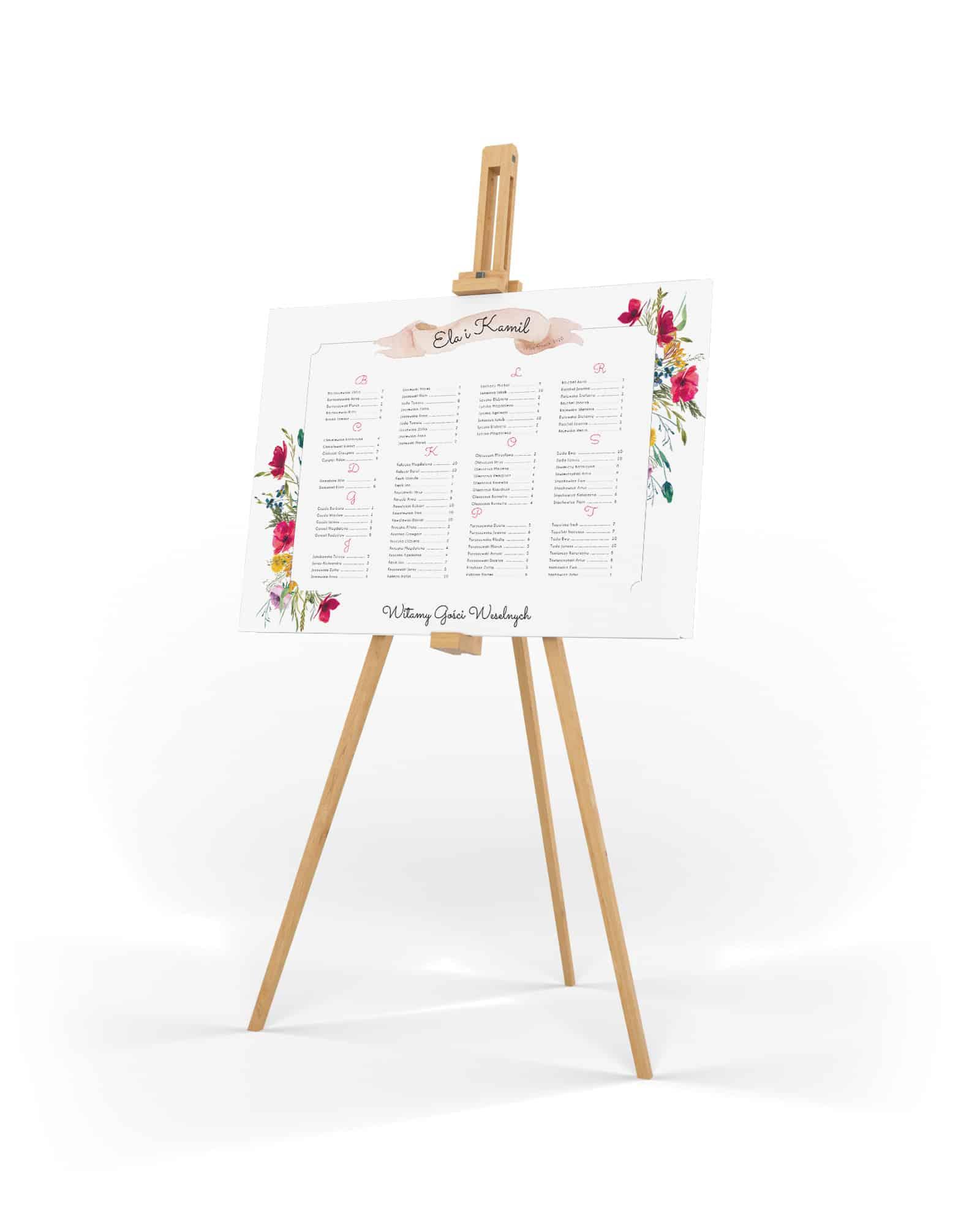 Plan stołów na wesele z makami i stokrotkami dookoła listy gości