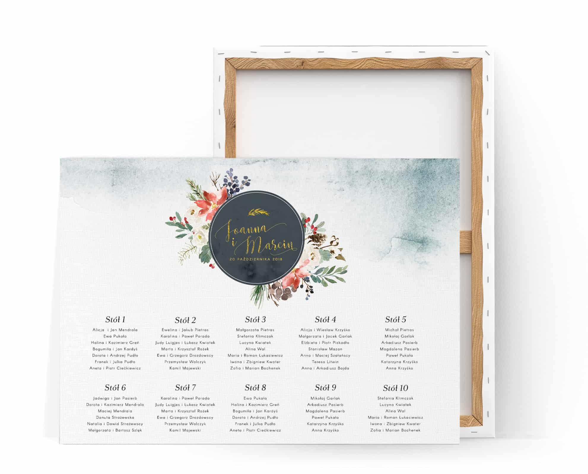 Plan stołów na weselew zimą