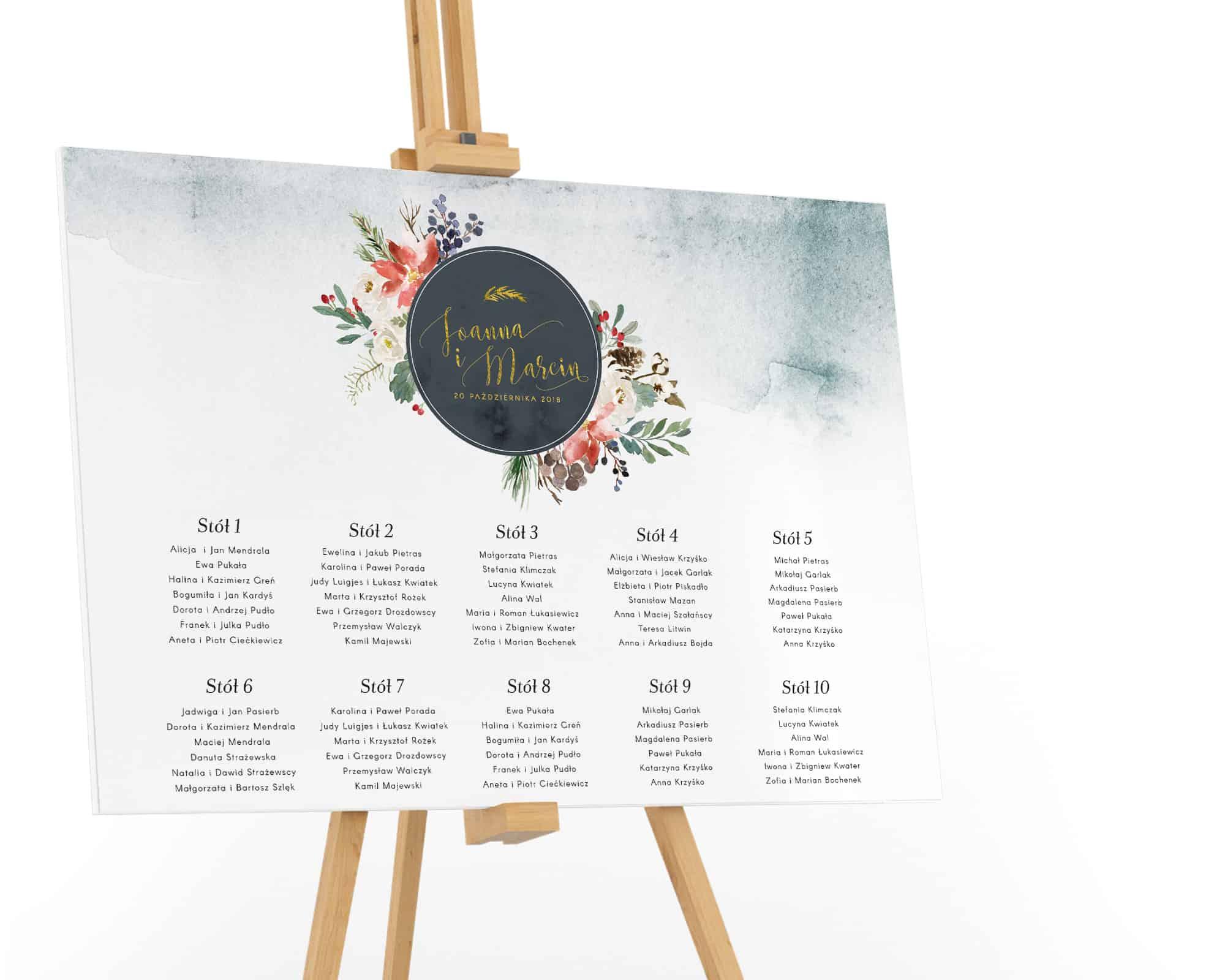 Plan stołów z motywem zimy w stylu watercolor, kompozycje kwiatów na płótnie