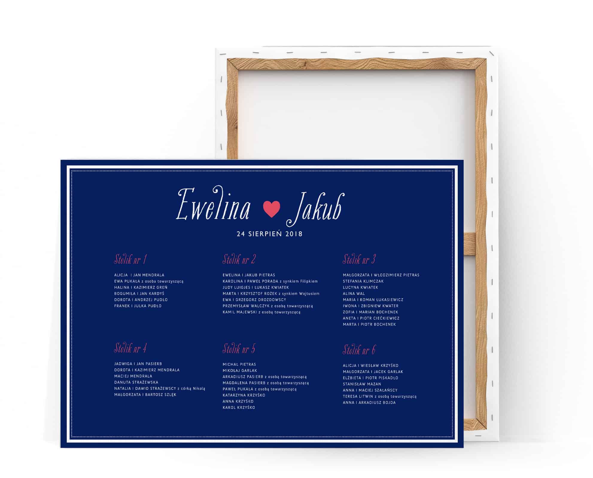tablica usadzenia gości przy stołach, prosta z niebieskim tłem i białą czcionką