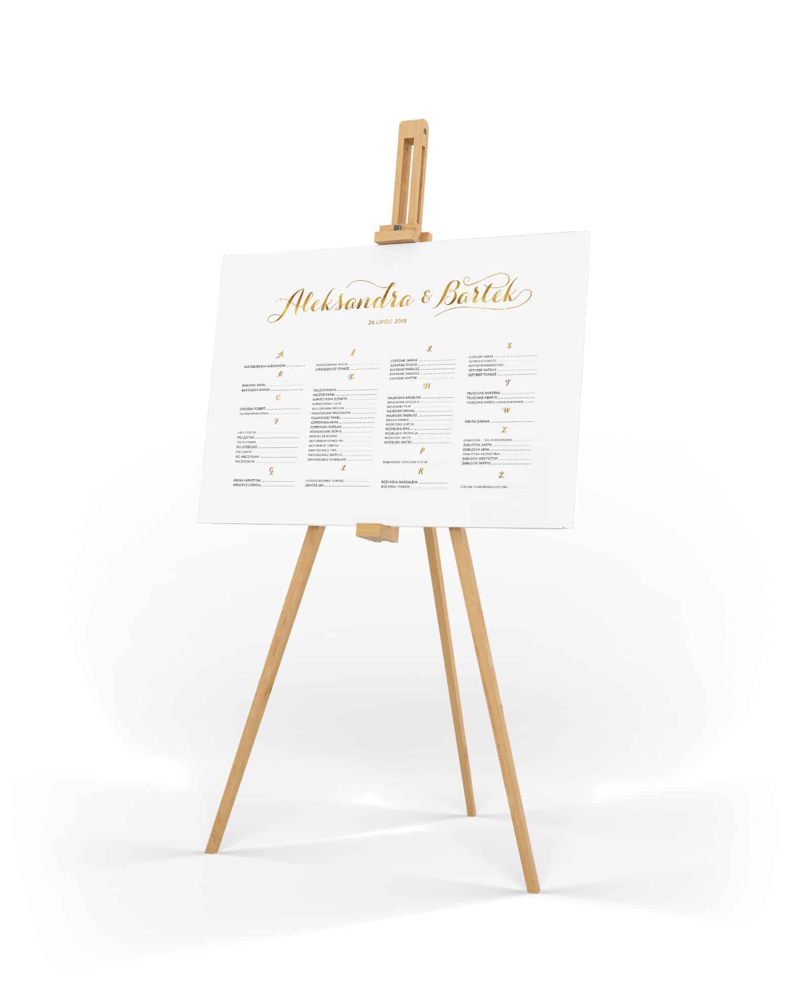 Plan stołów biały ze złotymi dodatkami