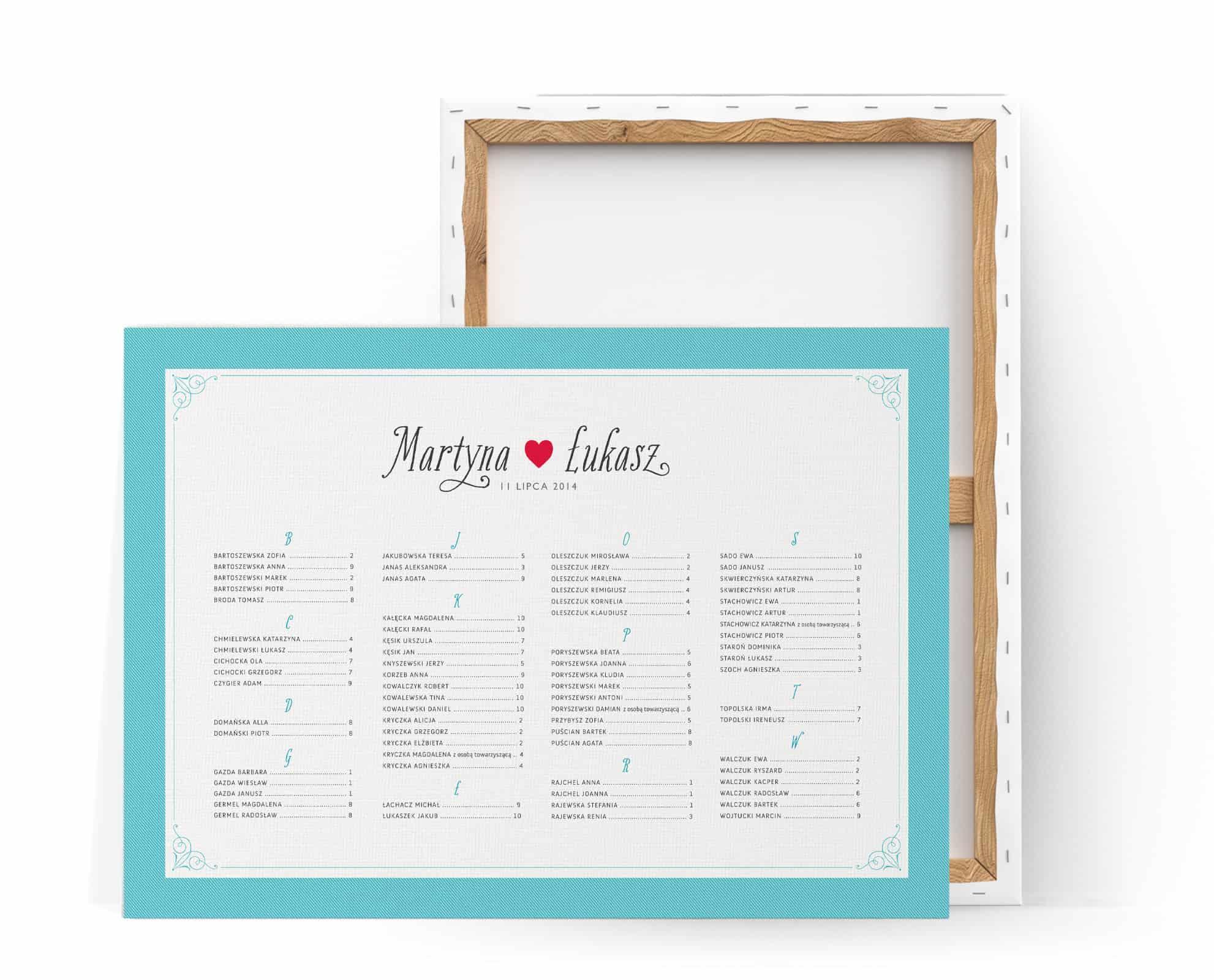 Biały, prosty i elegancki plan stołów w turkusowe paski