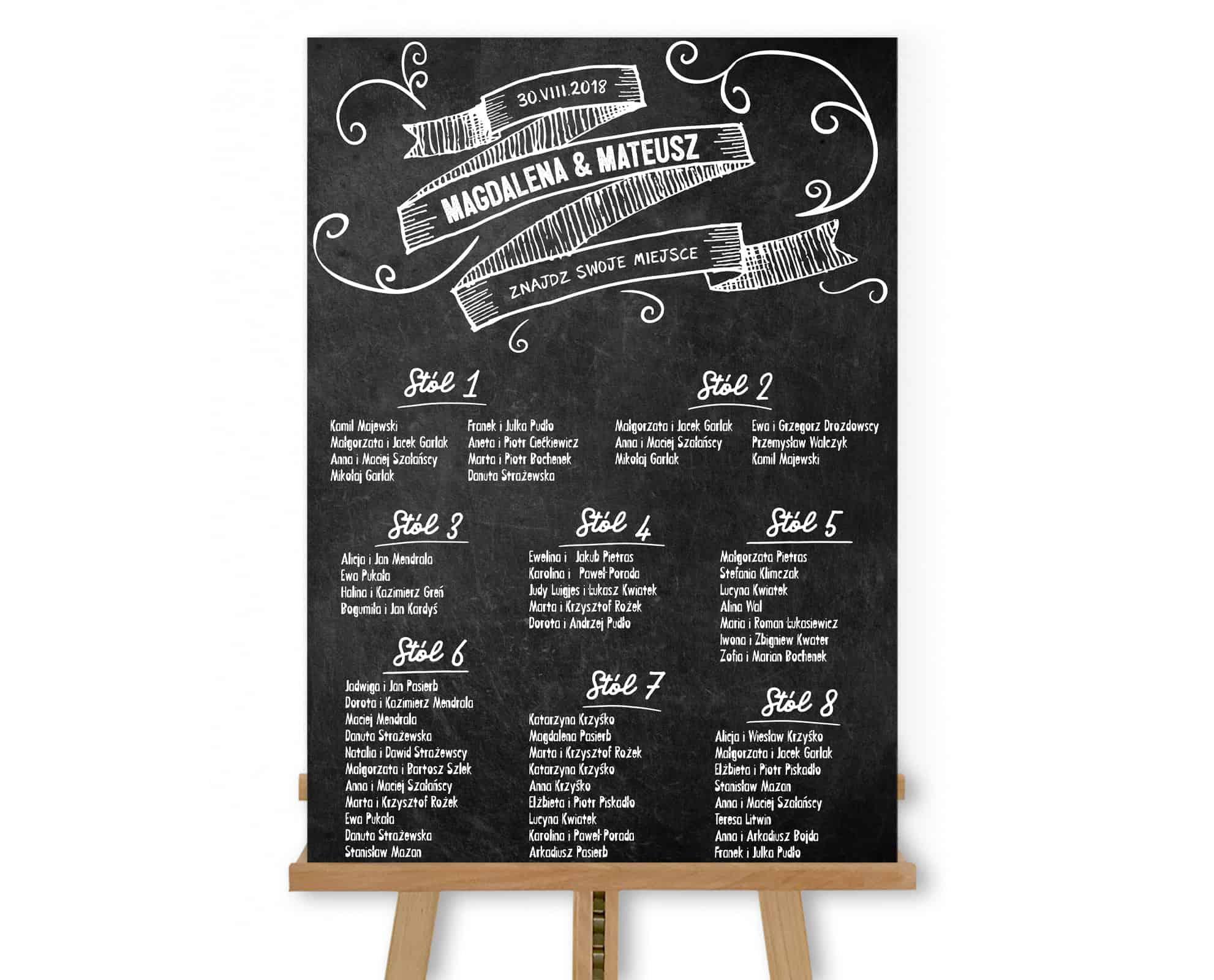 Plan stołów Chalk w pionie fotoboard