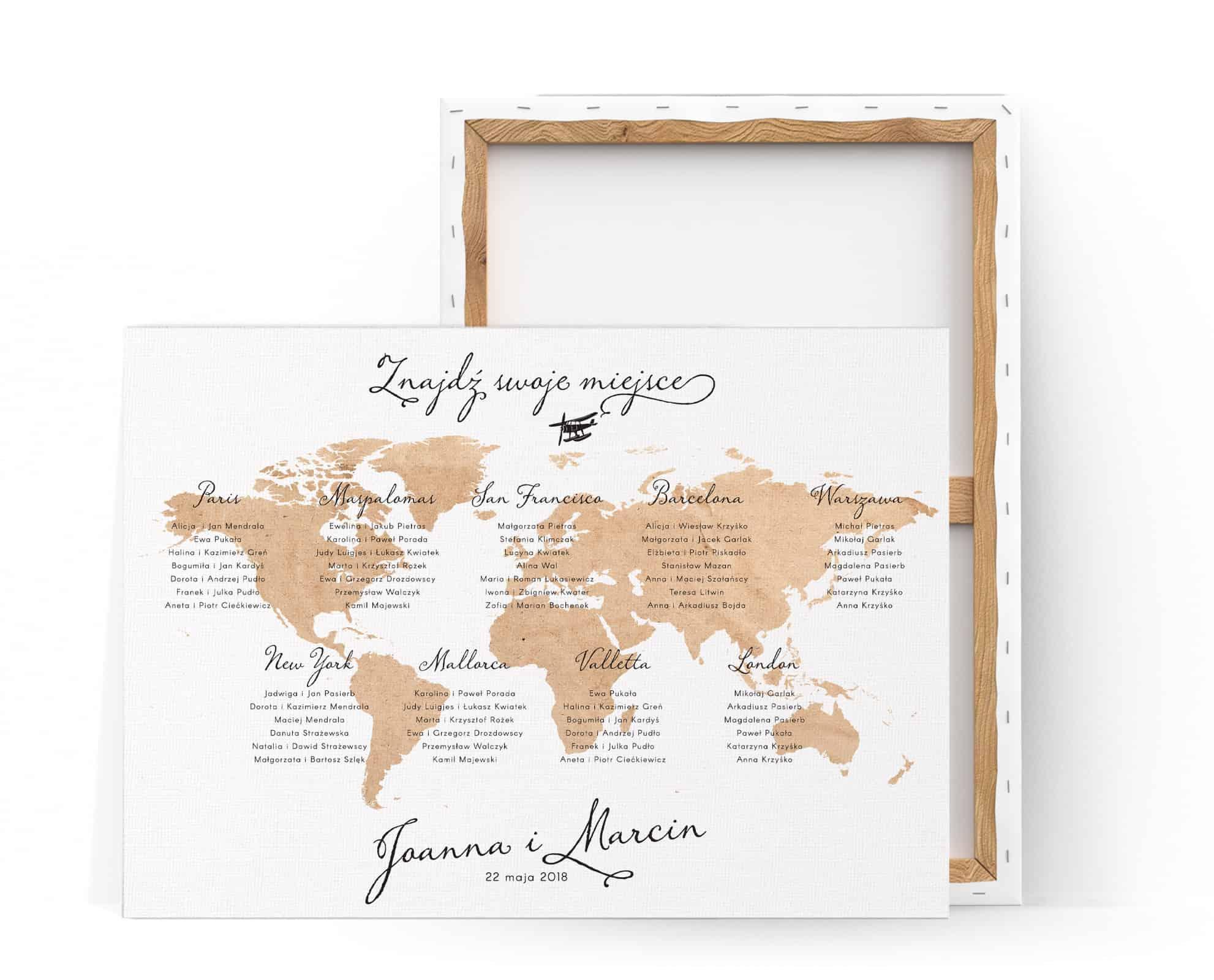 Plan stołów Mapa Świata na płótnie