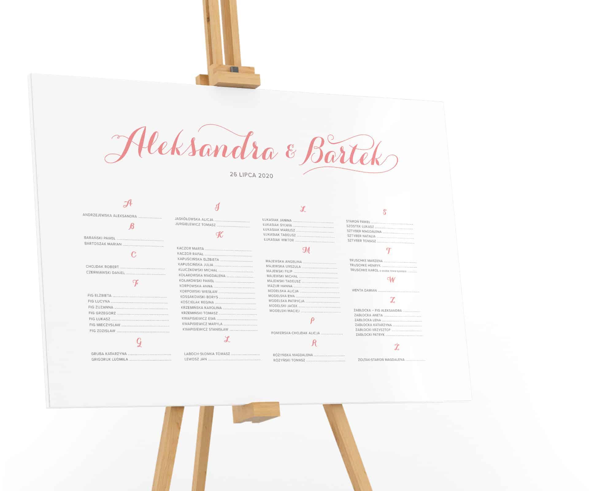Prosty i elegancki plan stołów
