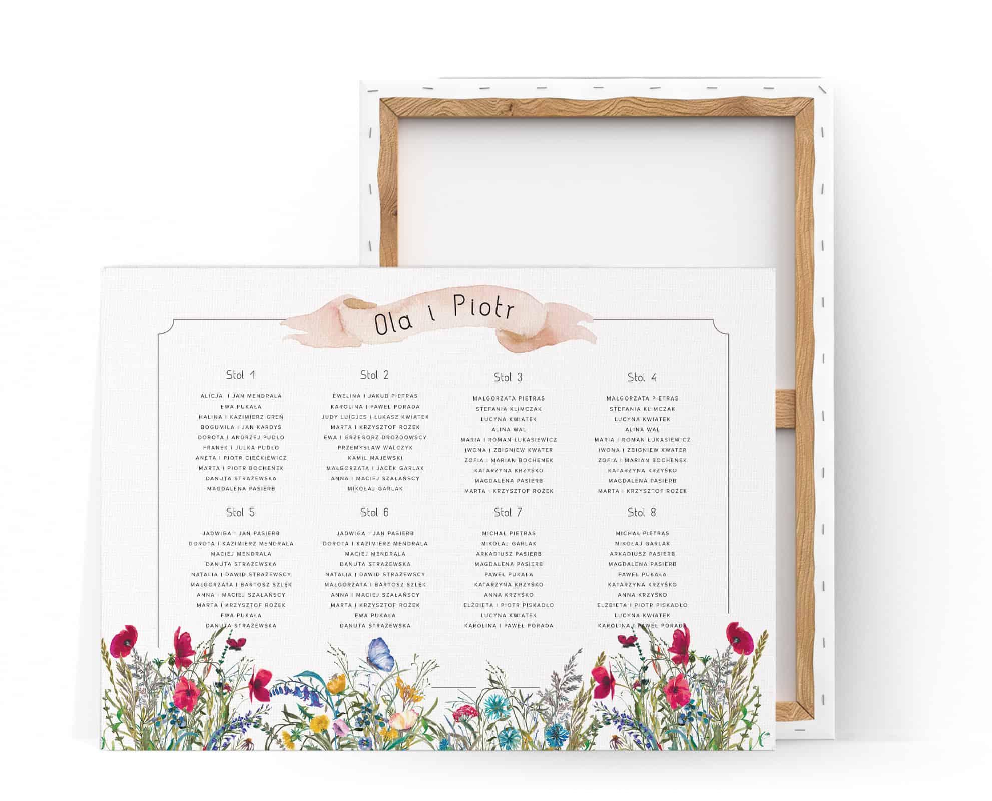Plan stołów z motywem kolorowych polnych kwiatów