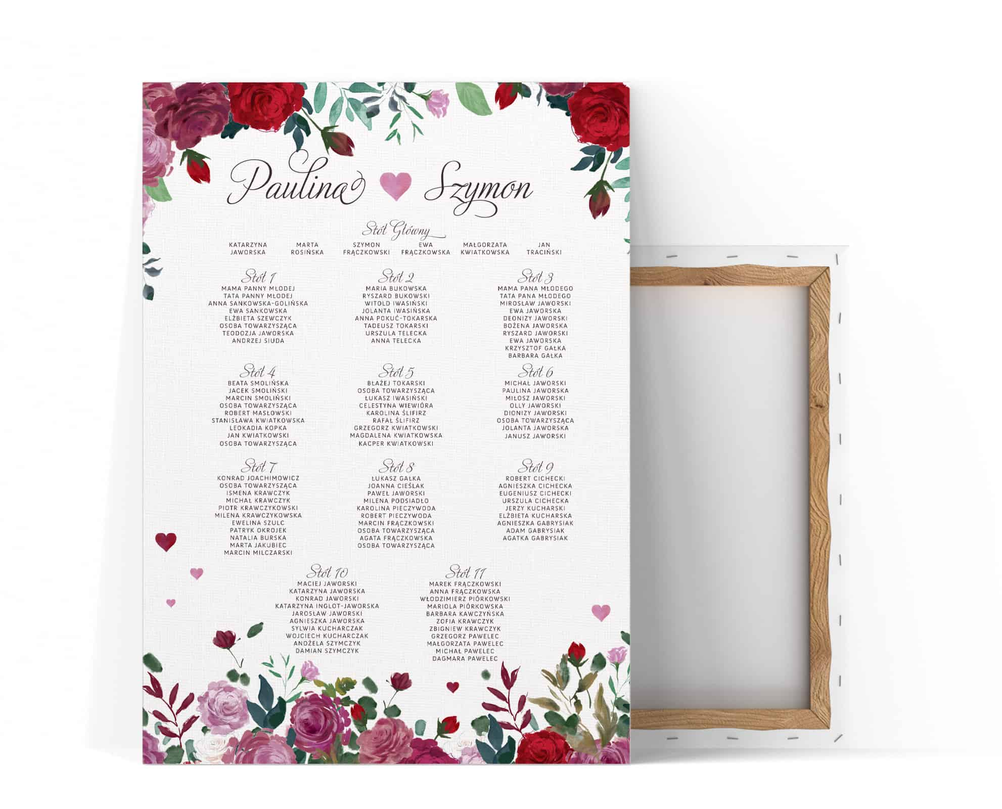 Plan stołów z motywem róż Romance