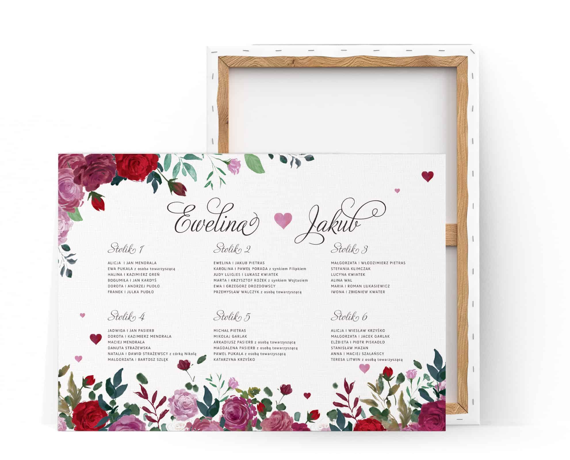 Plan stołów na płótnie z motywem róż Romance