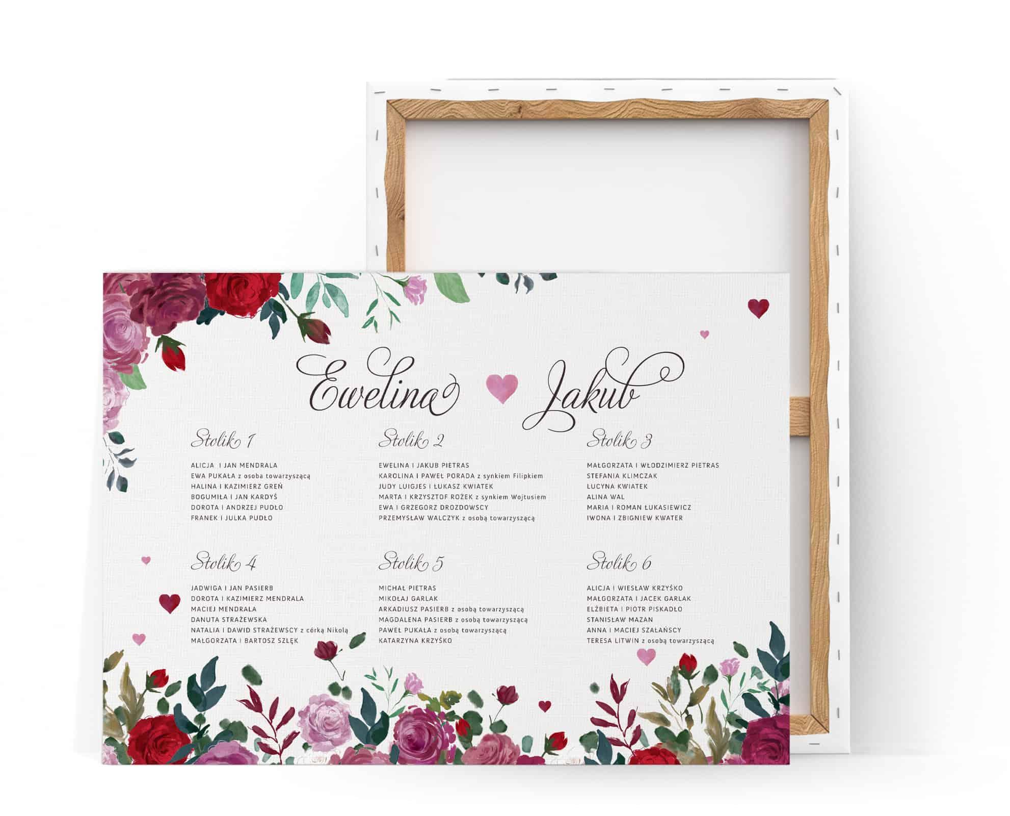 Plan usadzenia gości przy stołach z kwiatami róż, w romantycznym stylu