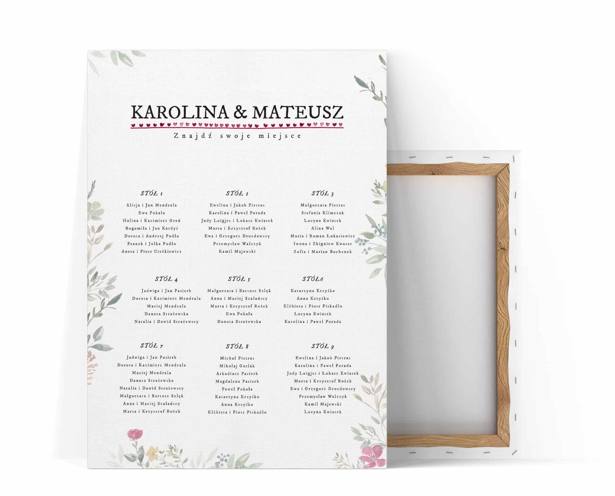 Plan stołów z drobnymi kwiatami i listkami w stylu watercolor na płótnie