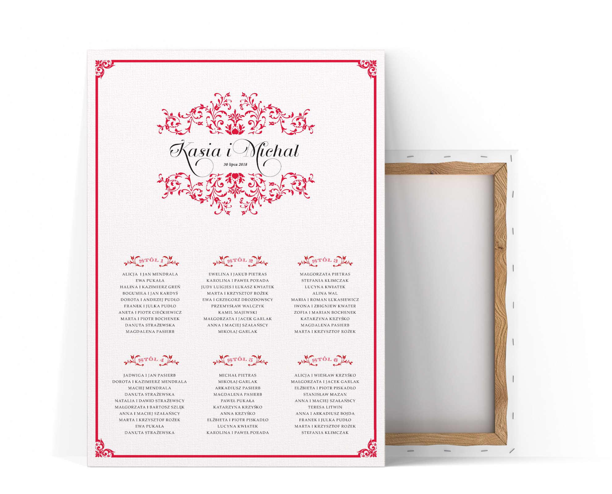 Plan stołów z ornamentami i czerwoną ramką