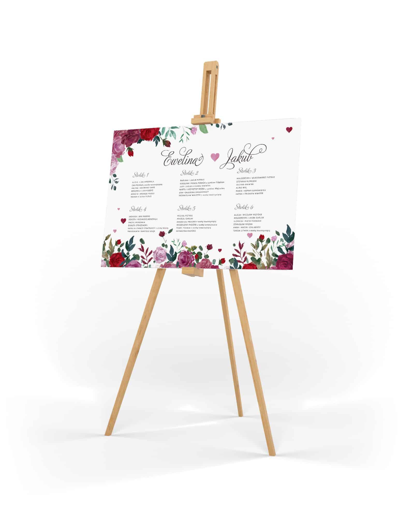 Plan stołów weselnych w romantycznym stylu z kompozycją czerwonych róż