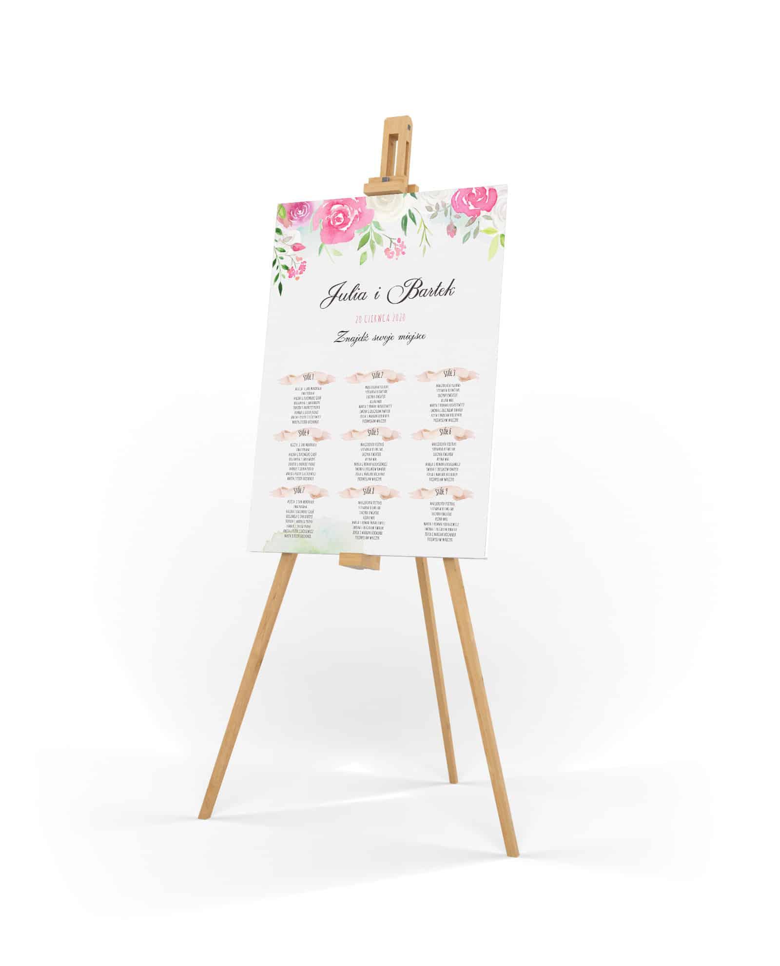 Kwiatowy plan usadzenia gości weselnych z rozmieszczeniem według numerów stołów