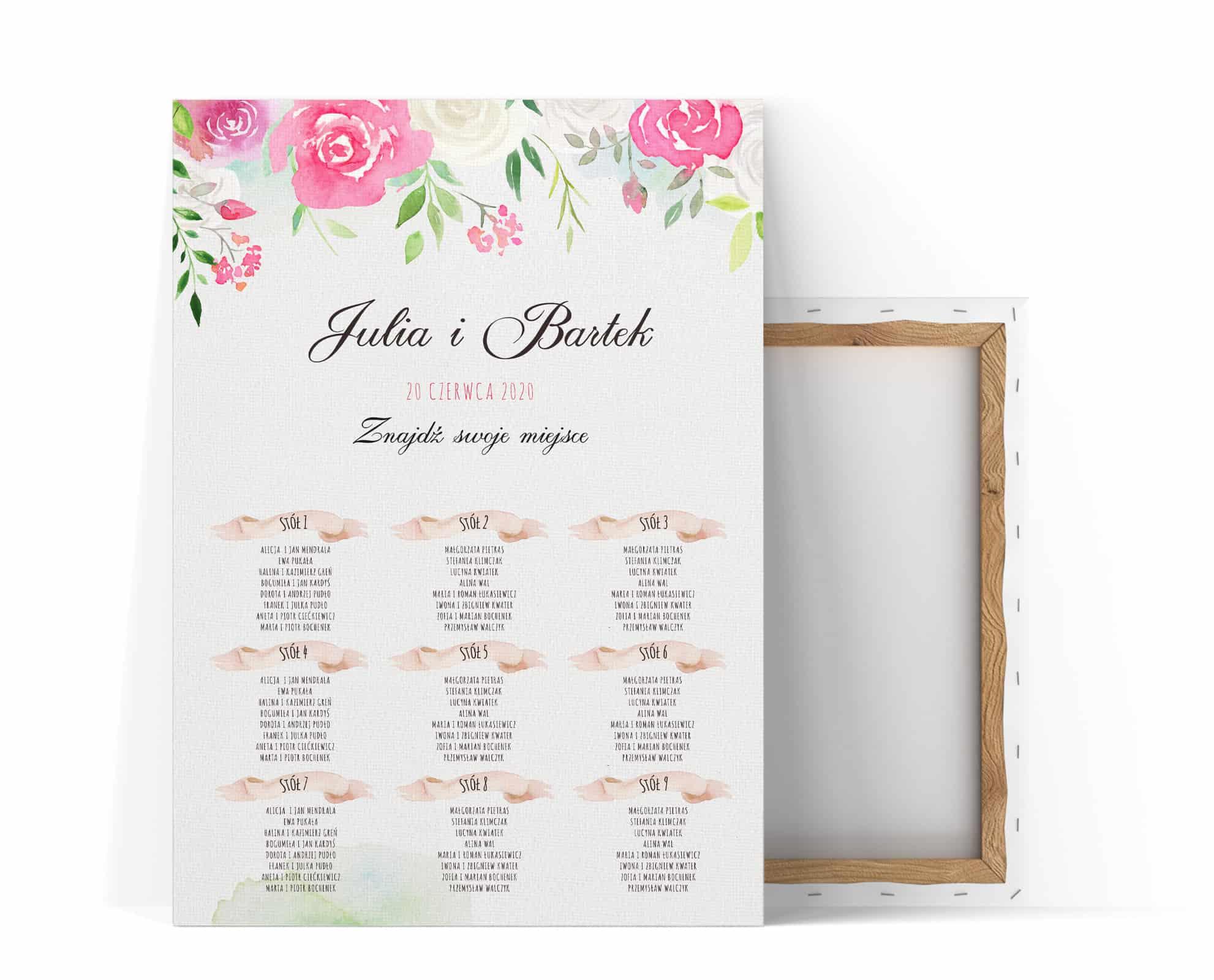 Plan usadzenia gości kwiatowy, róże w kolorach białym i różowym