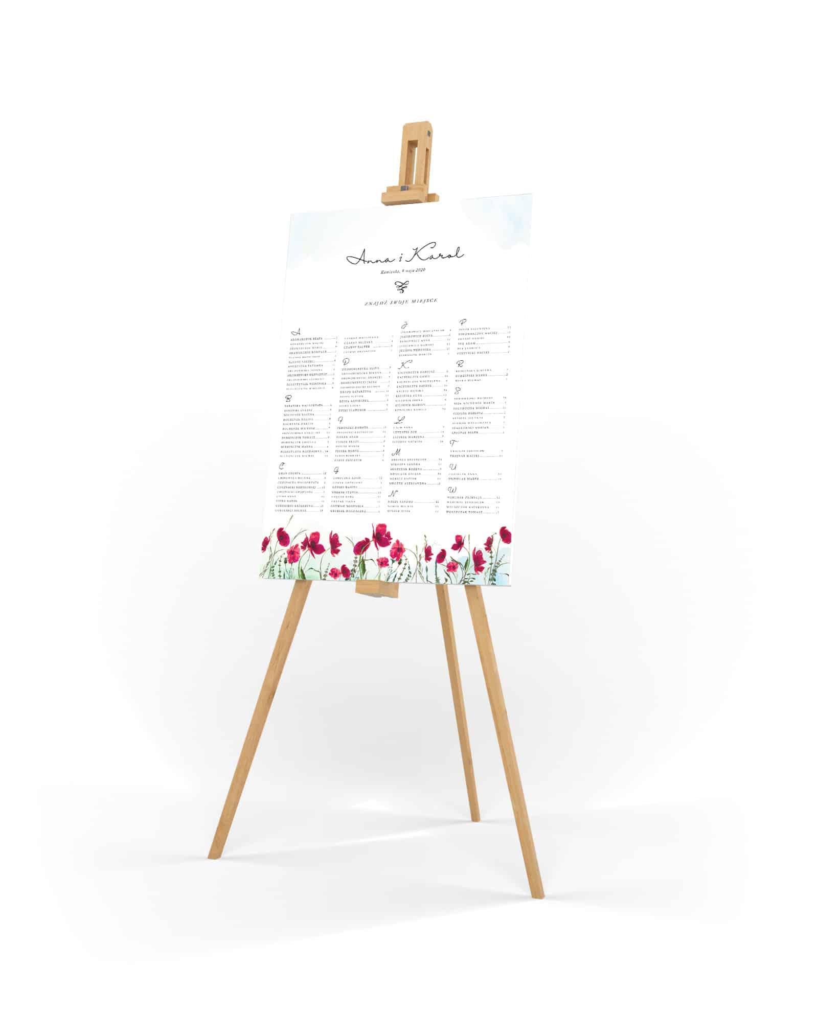 Plan stołów na wesele z kwiatami maków w stylu akwarelowym