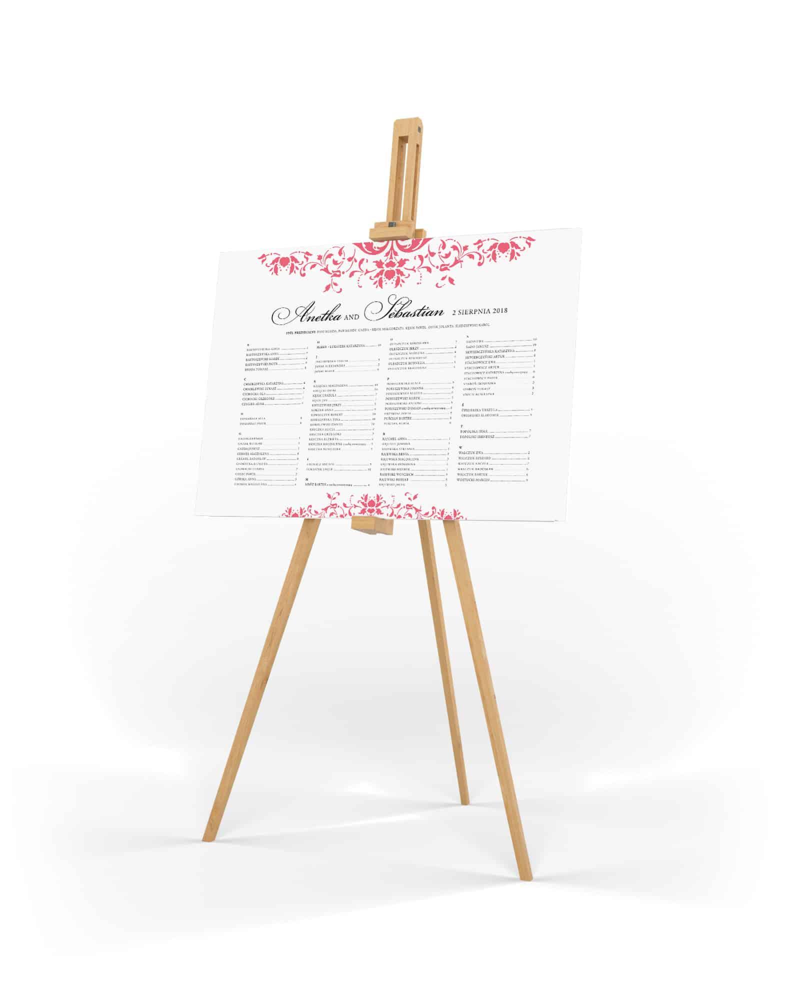 Tablica stołów weselnych z układem alfabetycznym i ornamentami w koralowym kolorze