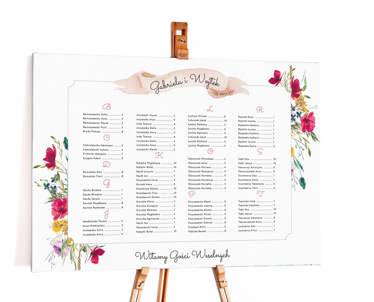 Plan stołów na wesele z motywem kolorowych polnych kwiatów