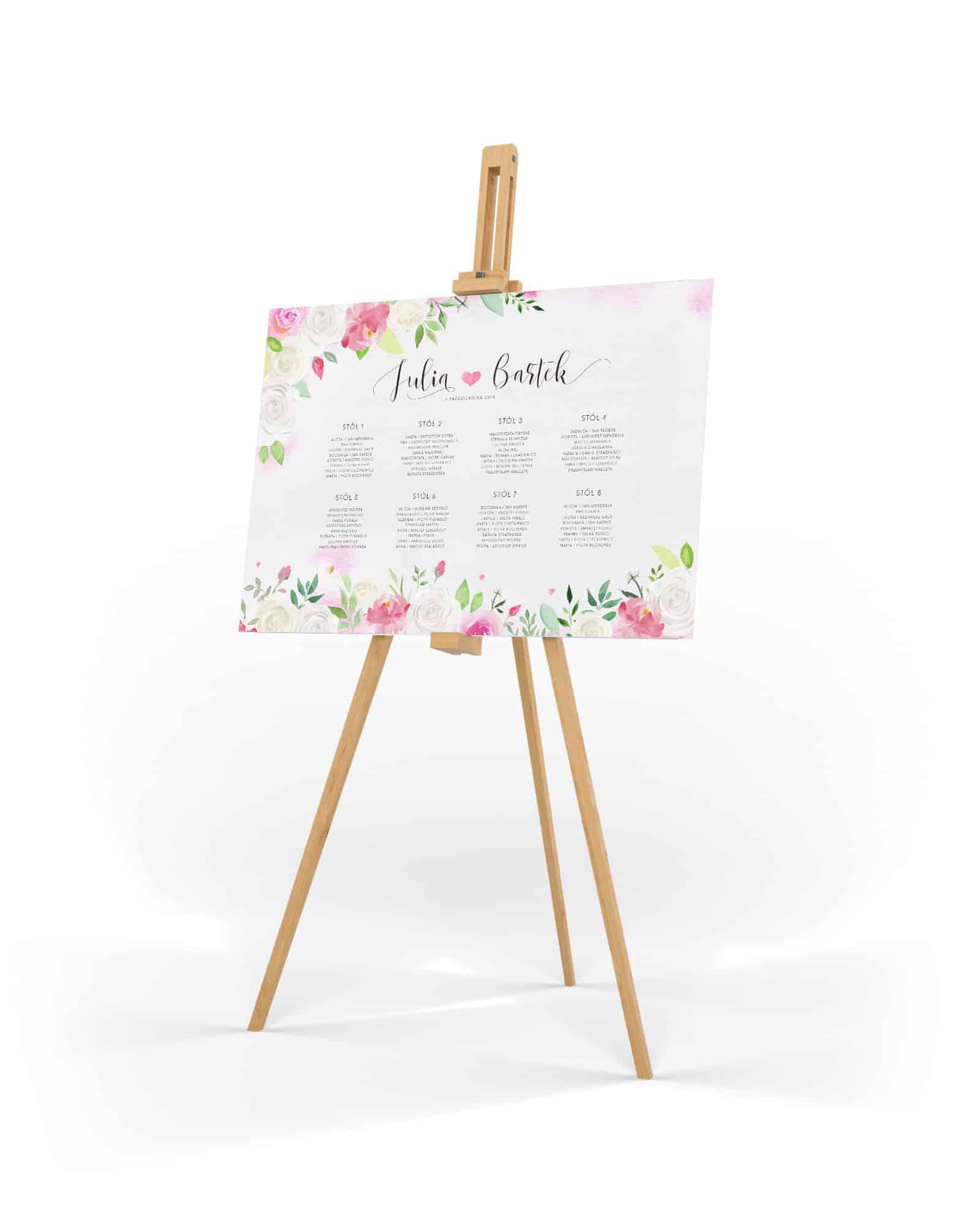 Plan usadzenia gości z bukietem białych i różowych kwiatów
