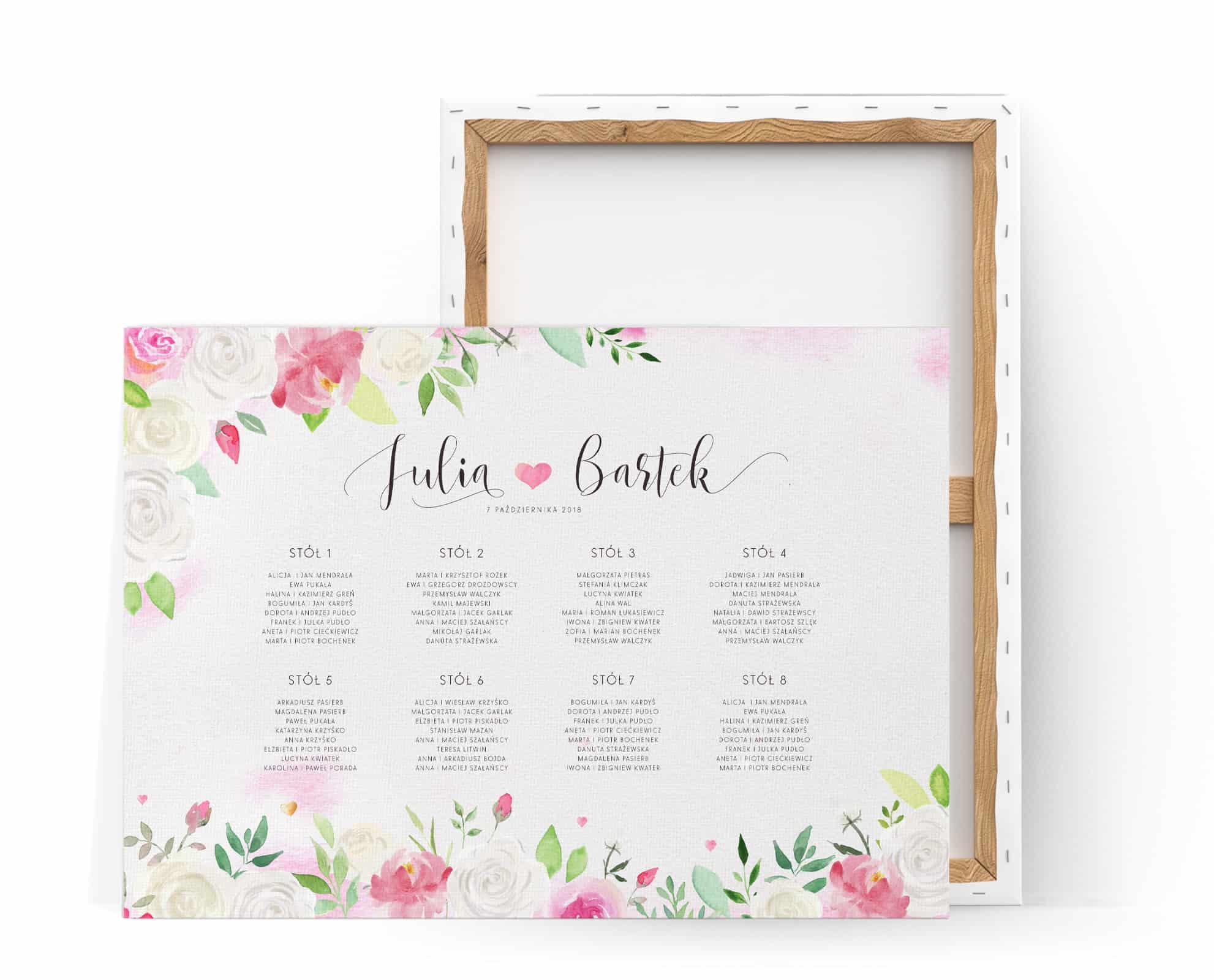Plan stołów na płótnie z różami w stylu watercolor i delikatnymi listkami