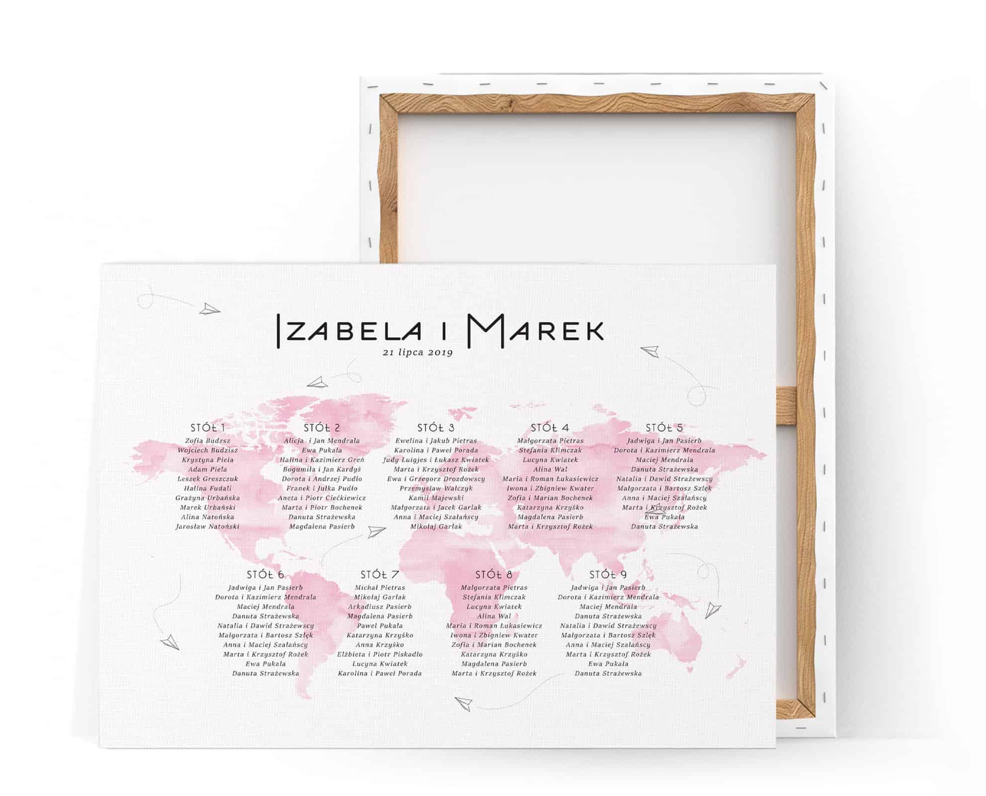 Plan stołów weselnych z motywem różowej mapy świata