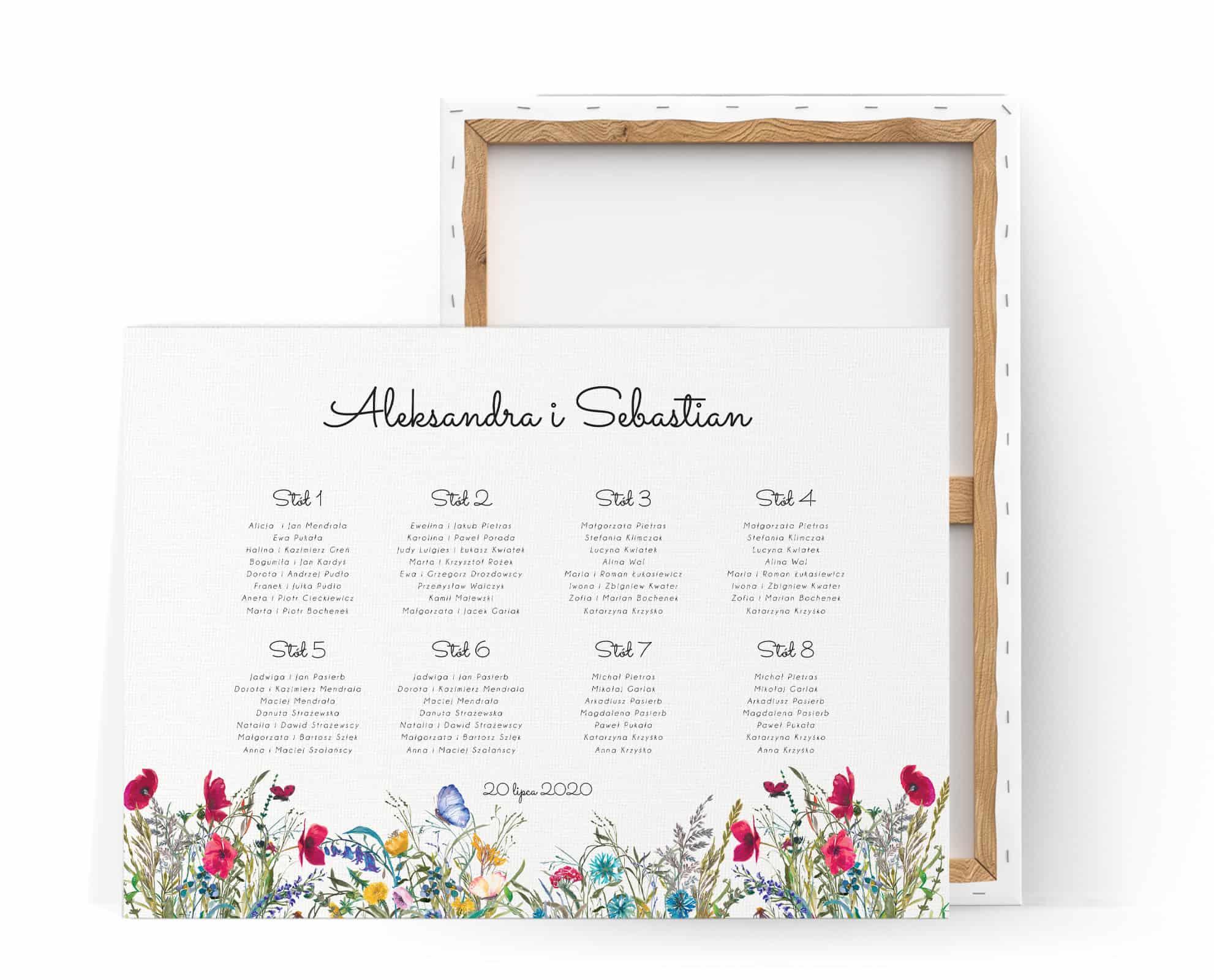 Plan usadzenia gości z motywem kolorowych polnych kwiatów
