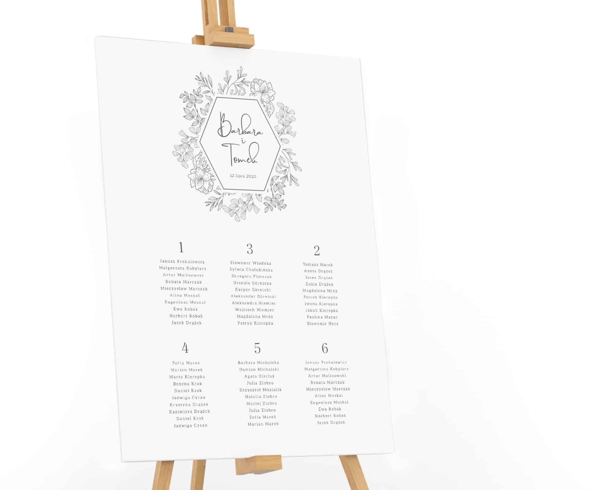 prosty-czarno-bialy-plan-stolow-z-rysowanymi-kwiatami