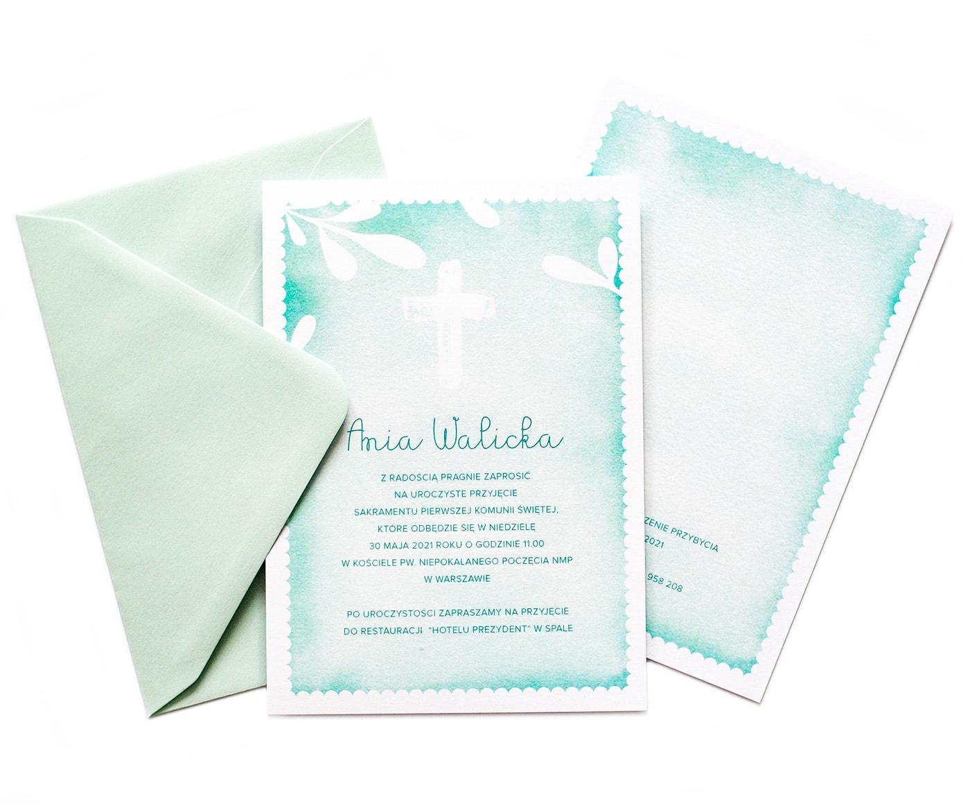 Zaproszenia na Komunię jasnozielone tło watercolor i biały krzyż