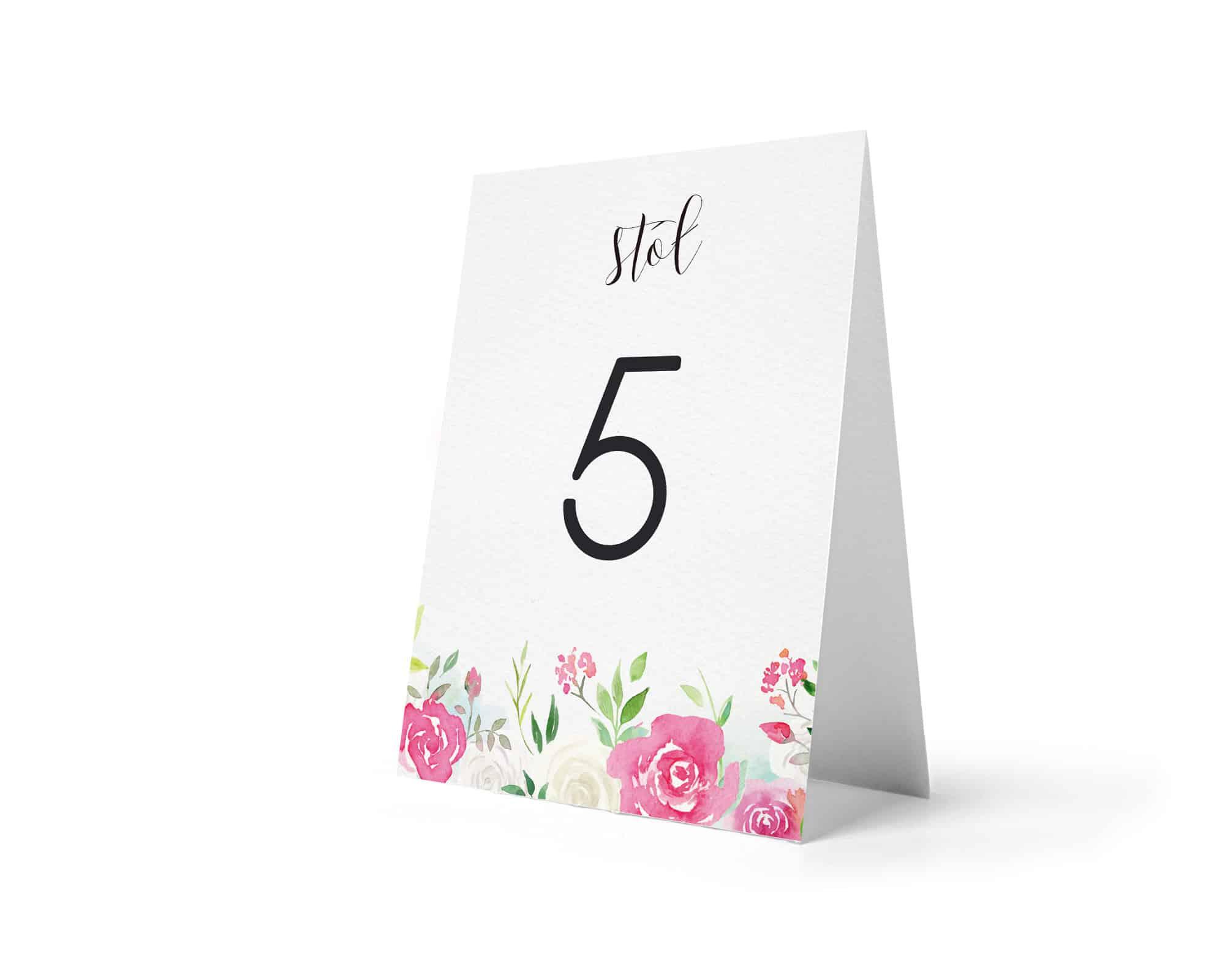 Numery na stoły weselne w stylu kwiatowym Roses