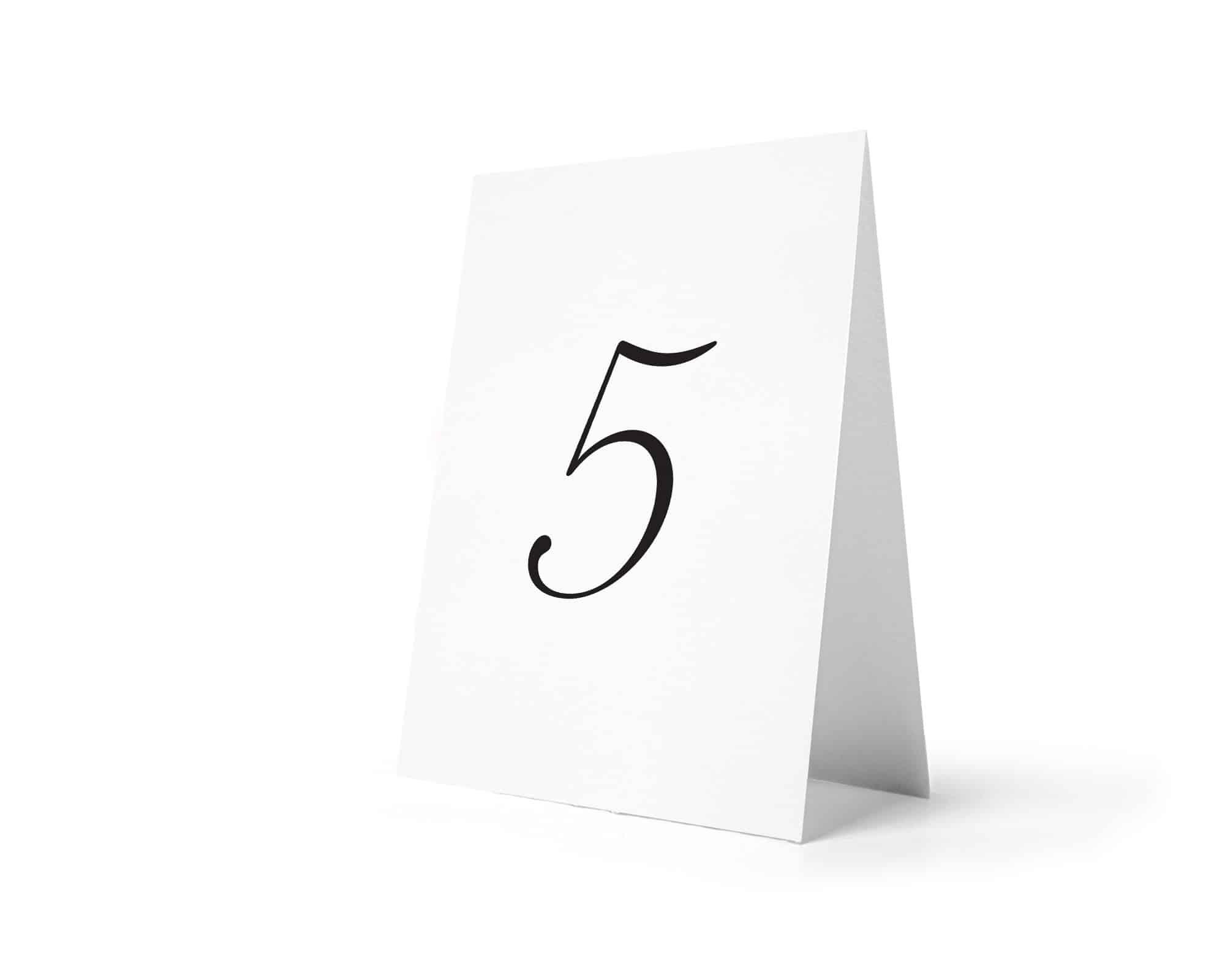 Numery n stoły z ładną dużą cyfrą
