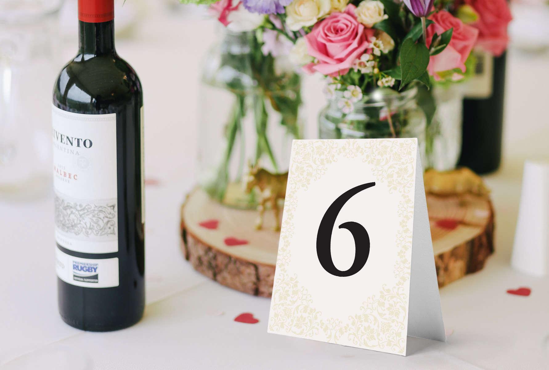 Numery na stoły weselne Vera