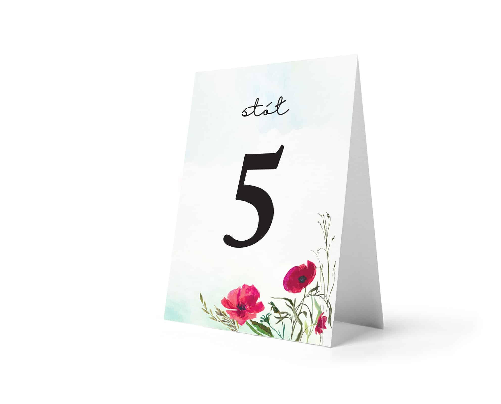 Numery stołów z kwiatami maków i dużą cyfrą