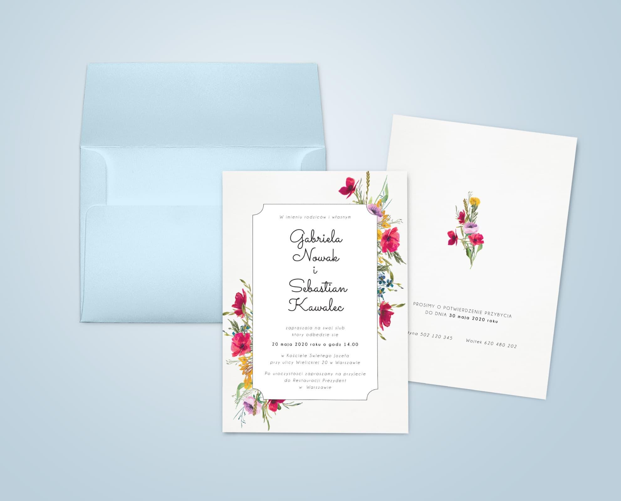 Proste, eleganckie rustykalne zaproszenia ślubne z kwiatami z łąki