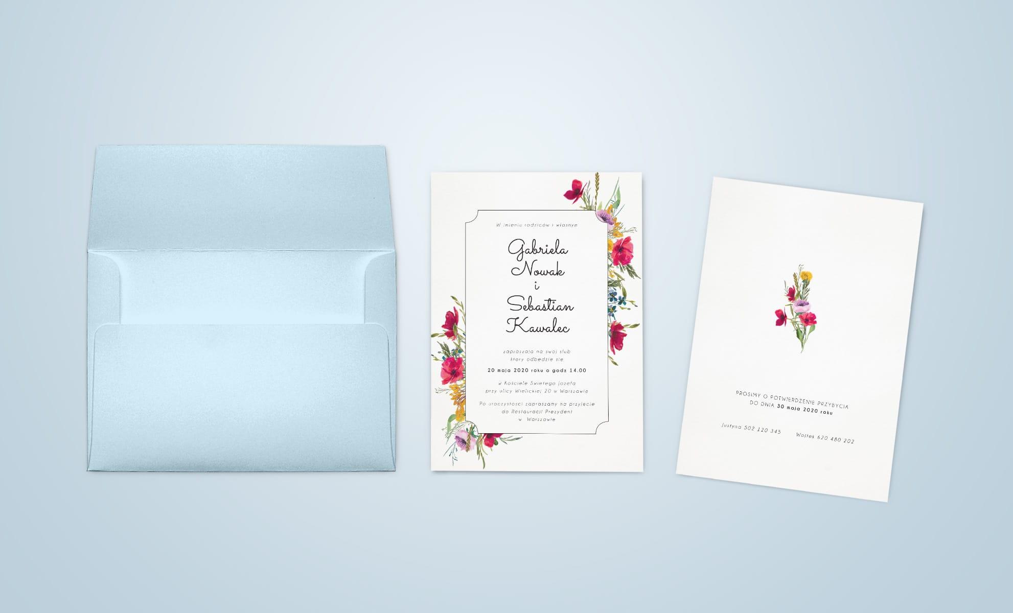 Minimalistyczne rustykalne zaproszenia ślubne z kolorowymi polnymi kwiatami