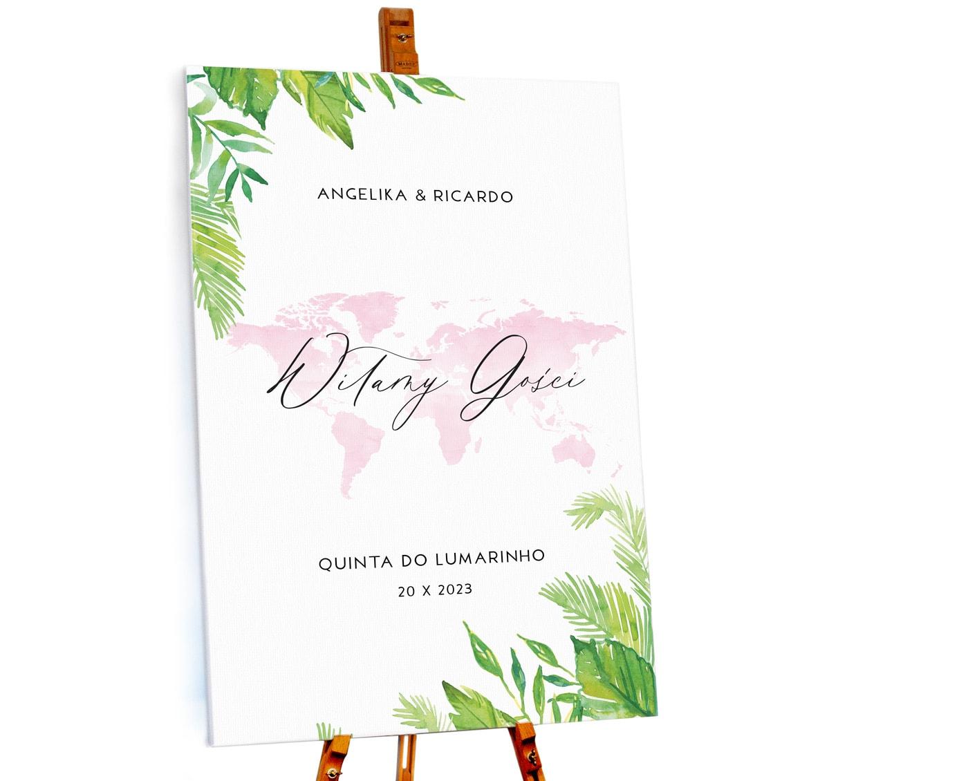tablica powitalna na wesele w stylu podróżniczym z akwarelową mapą