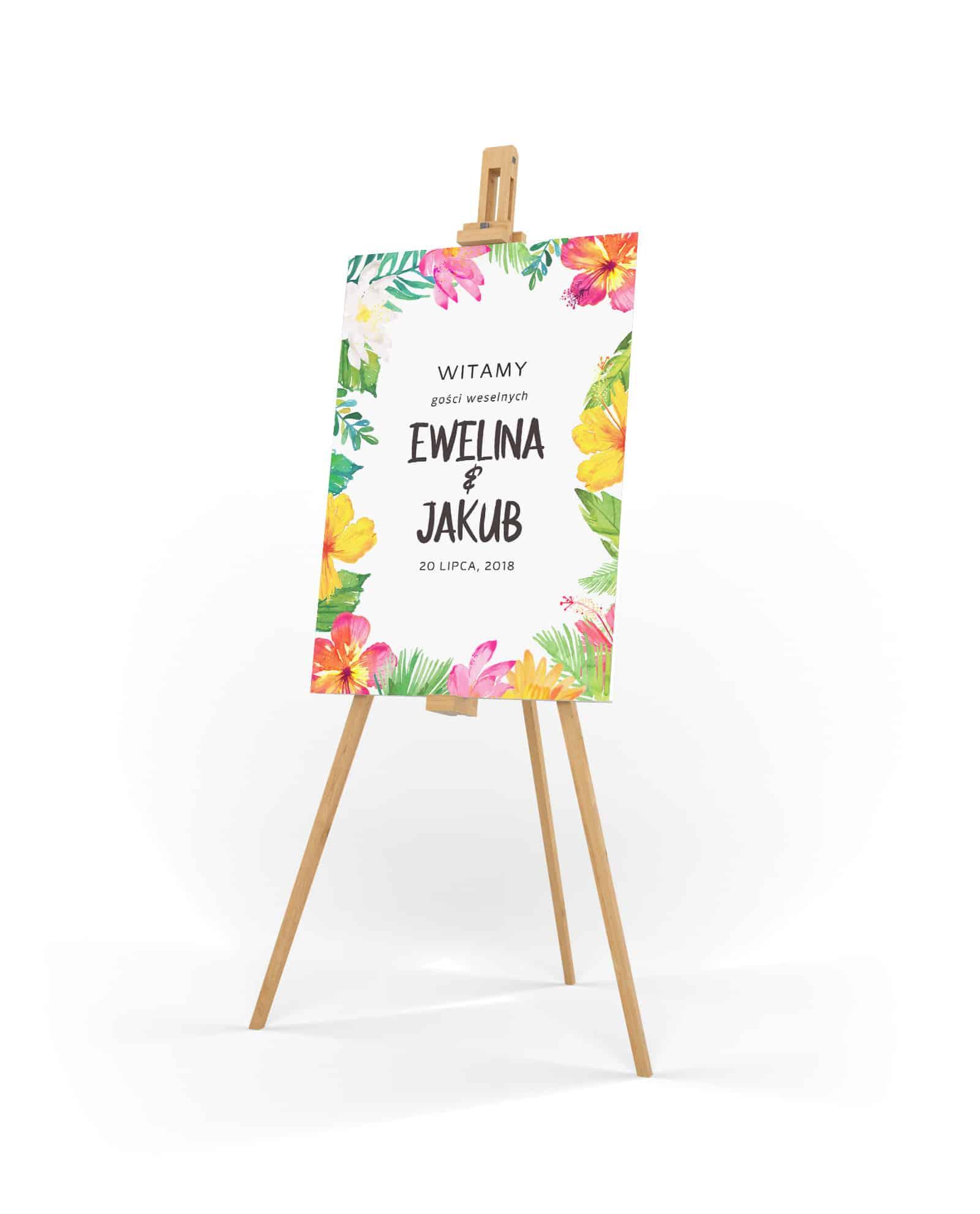Kolorowa tablica powitalna na wesele z tropikalnymi kwiatami