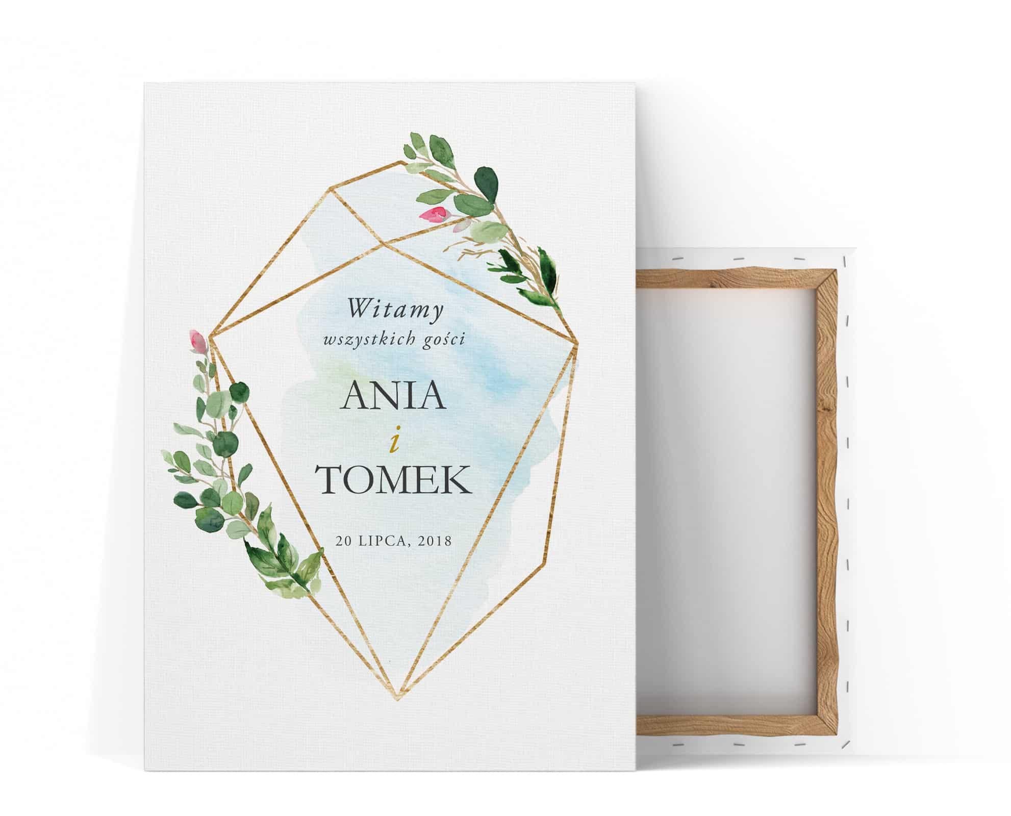 Tablica z powitaniem gości weselnych niebiesko złota z zielonymi listkami