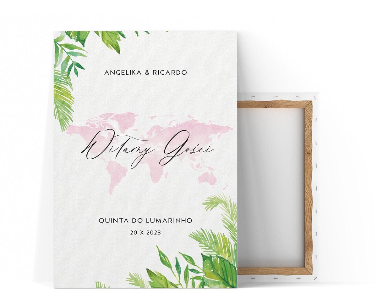 tablica powitalna z różową akwarelową mapą i zielonymi liśćmi