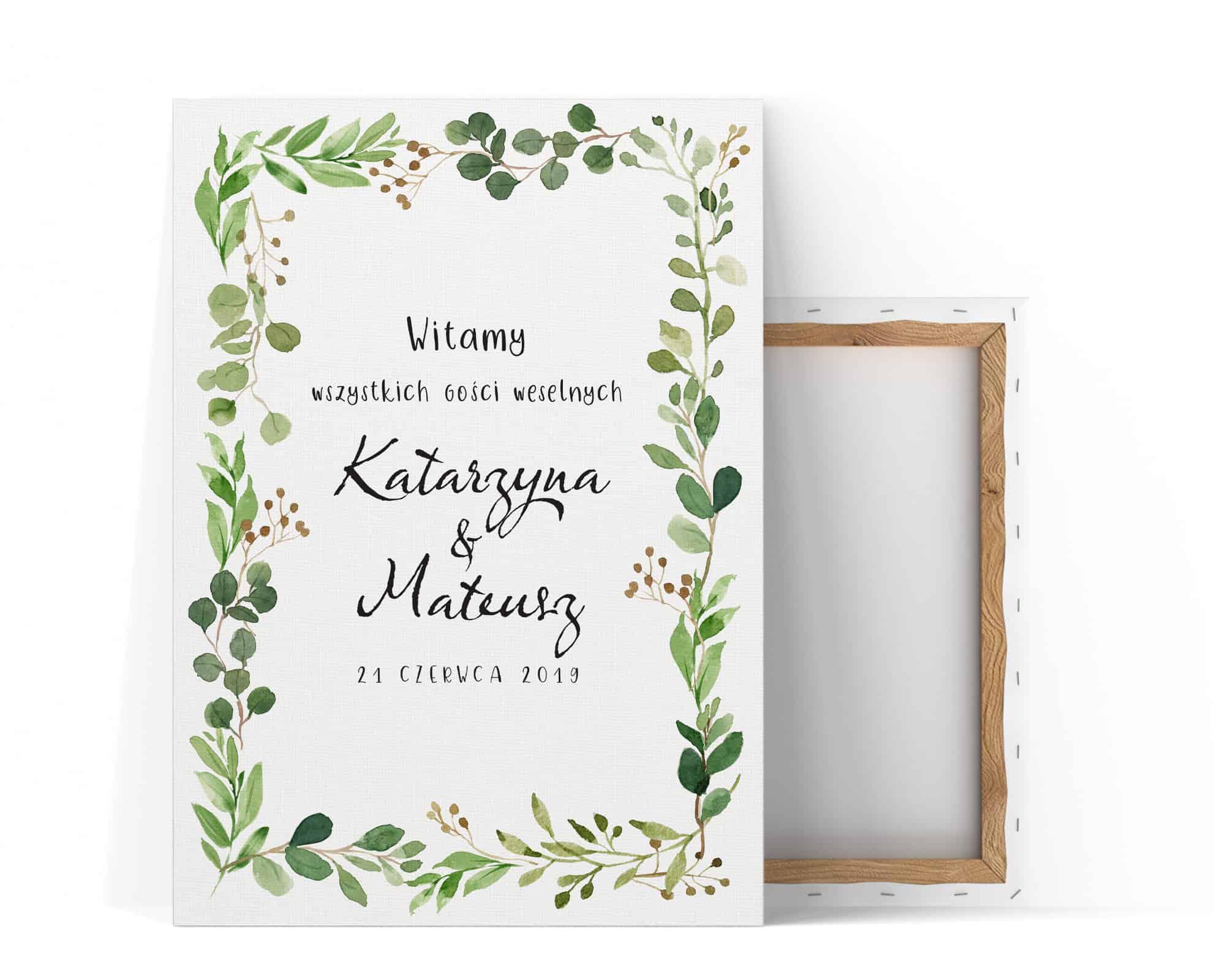 Tablica powitalna z motywem zielonych akwarelowych listków