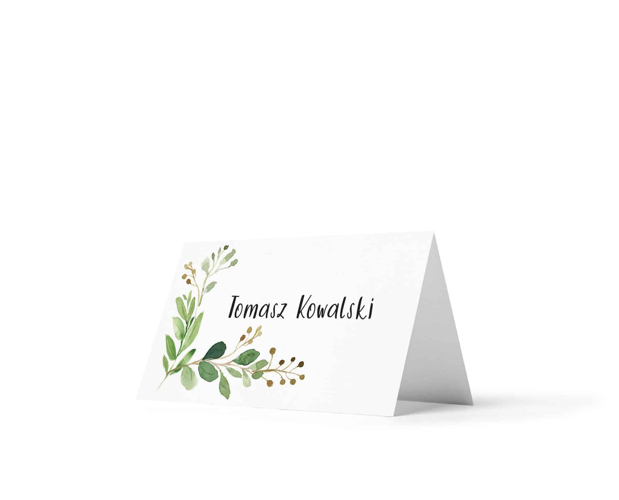 Winietki z ozdobną czcionką, ozdobione zielonymi listkami