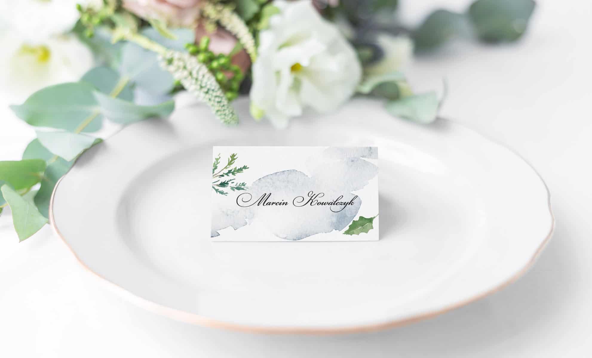 Winietki na wesele zimą z ozdobną czcionką