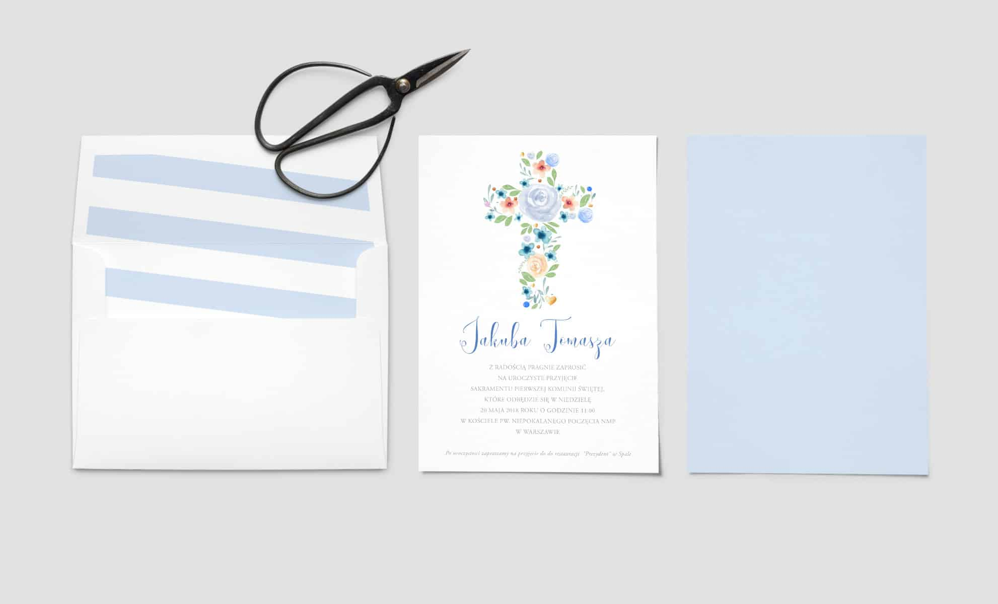 Zaproszenie na chrzest dla chlopca niebieskie z kwiatami