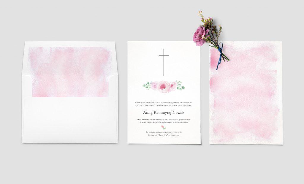 zaproszenia na chrzest z kwiatami piwonii