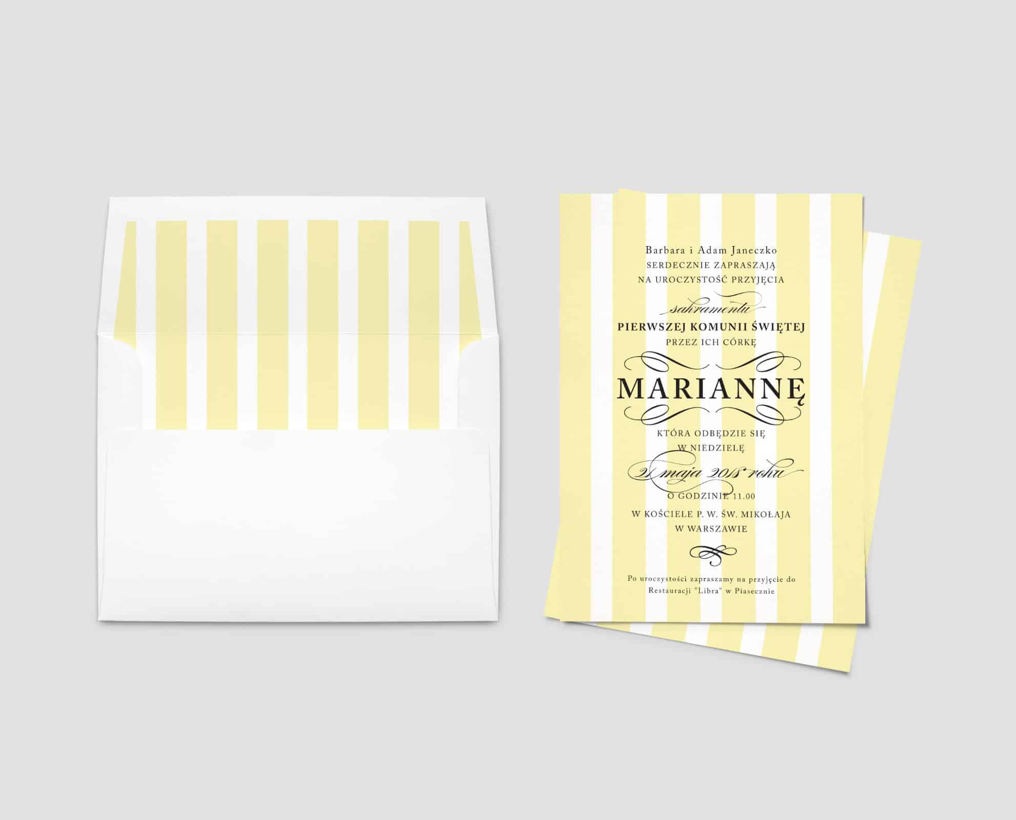Zaproszenia na Komunię w pięknym żółtym kolorze. Grube paski i ozdobna czcionka