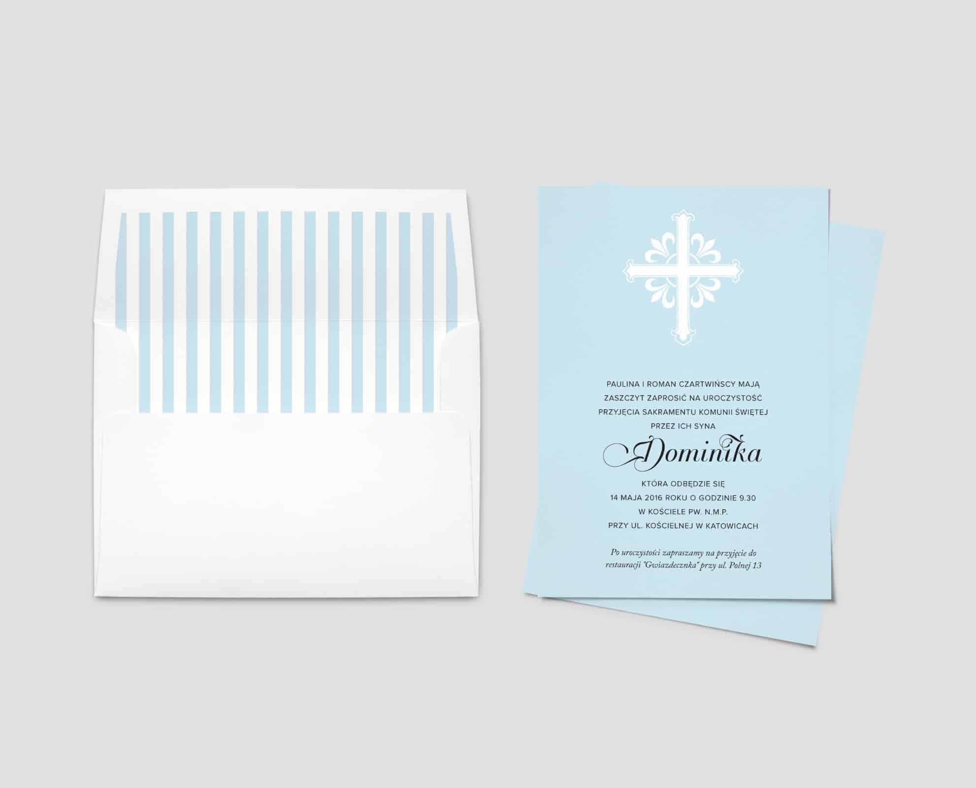 Zaproszenia na komunię świętą niebieskie z białą kopertą w paski
