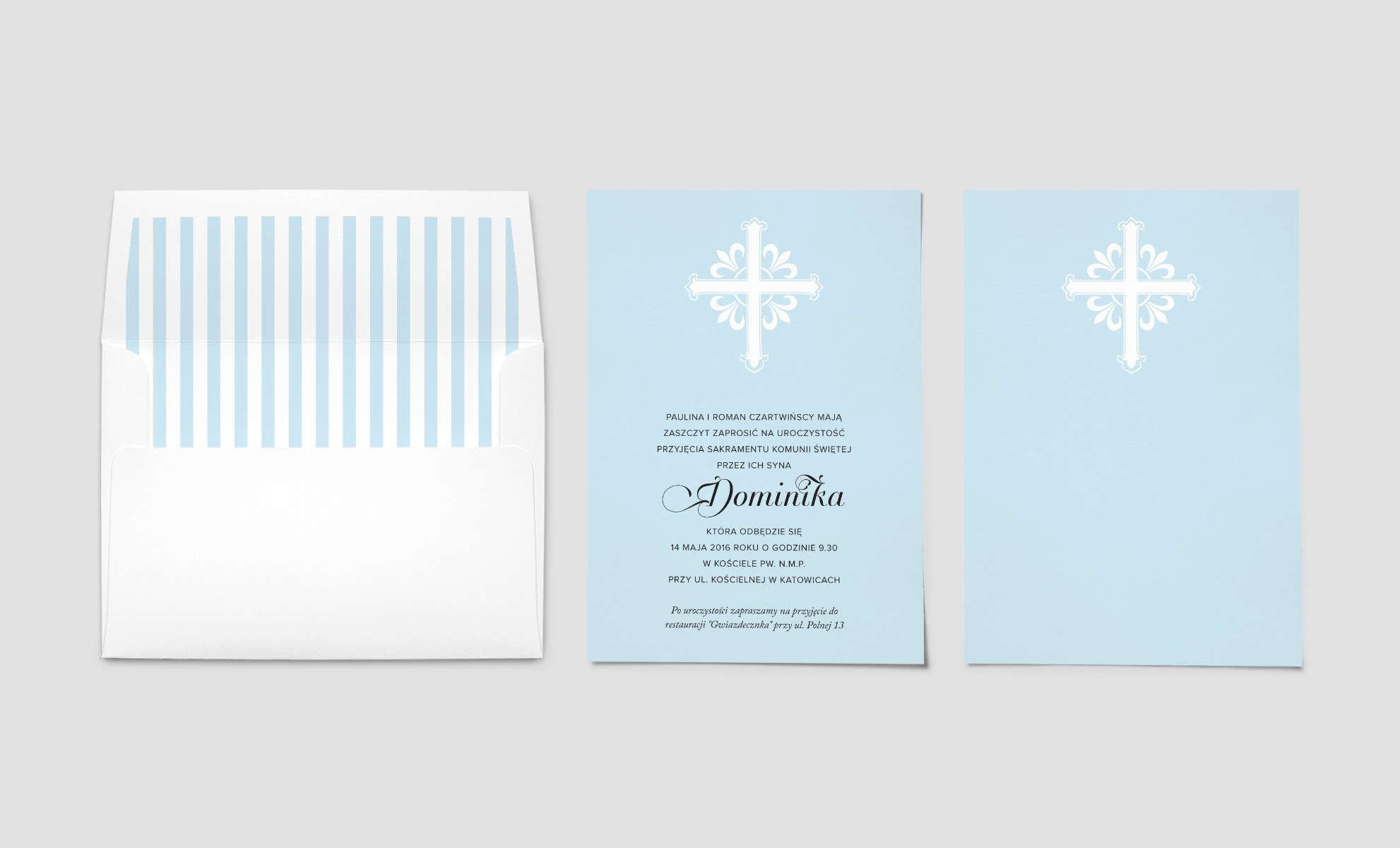 Niebieskie zaproszenie na komunię dla chłopca z dużym białym krzyżem