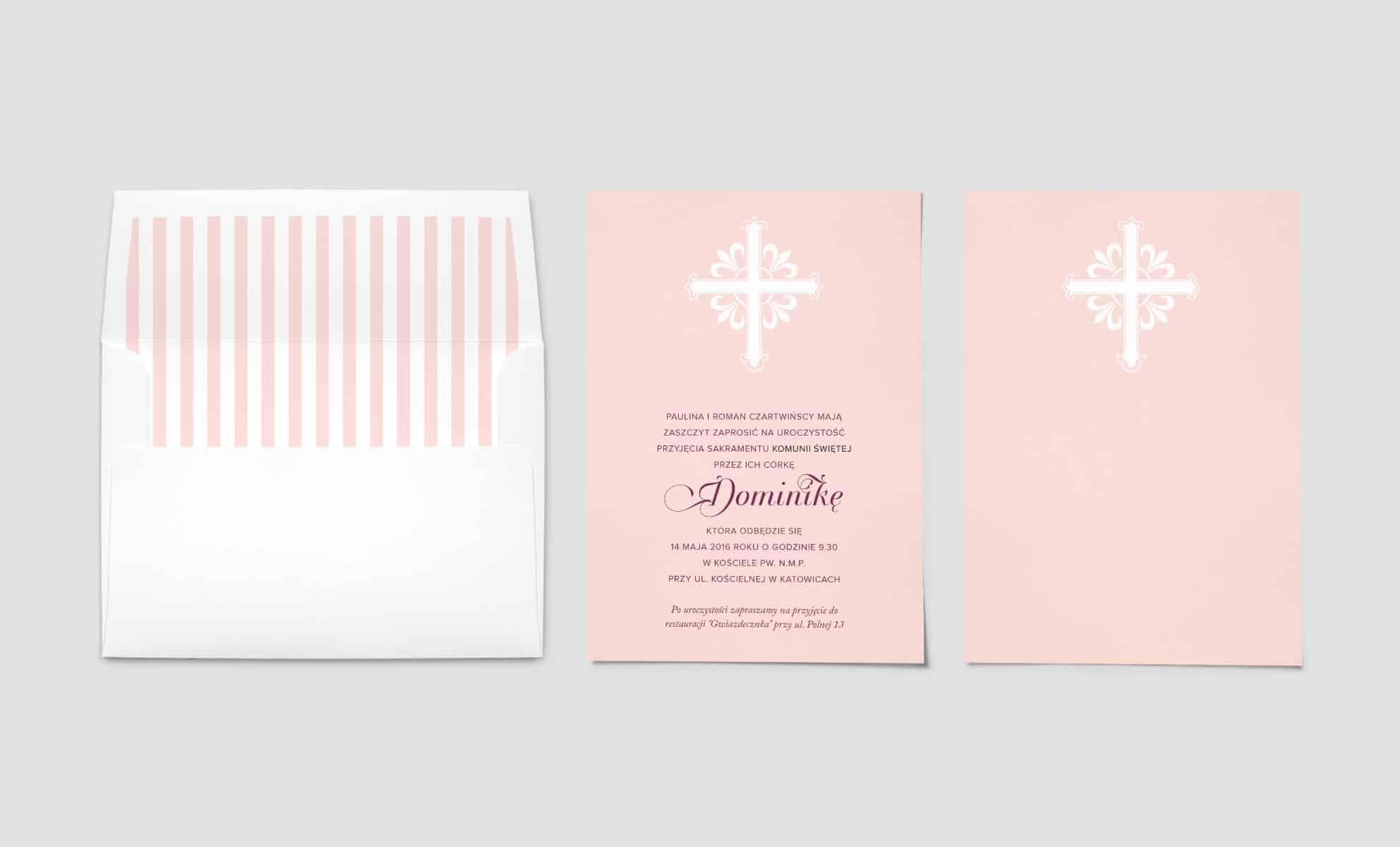 Blado różowe zaproszenie na komunię świętą z białmy ozdobnym krzyżem
